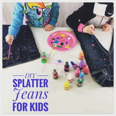 DIY Splatter Jeans for Kids. Be creative, have some fun and final masterpiece becomes today's latest fashion trend.