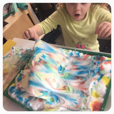 DIY Marbled Painting. This fun arts and crafts projects starts out as a great sensory play where you can teach about mixing colors. The final product is a great piece of art that you can hang, make into a card or gift tag and so much more.