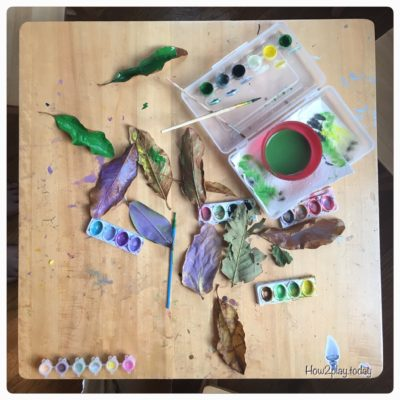 Using materials from the Earth is such a fun and easy way to allow kids to be creative.  Many items can be collected on afternoon walks like these leaves.