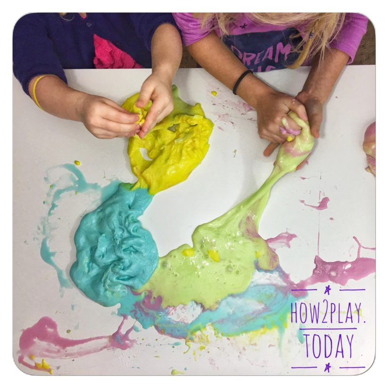 Rainbow slime is great sensory play. follow @how2playtoday for more creative ideas.