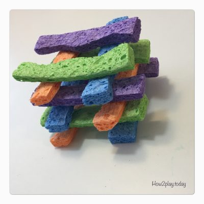 "In need of some quiet play?  Making these stacking ""blocks"" from sponges creates a mess-free and quiet activity"