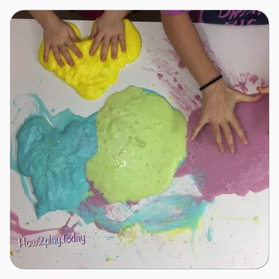 Mixing rainbow slime.