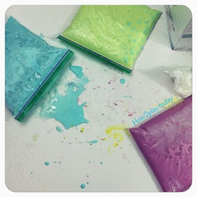 Store slime in ziplock baggies to keep fresh.  You can continue to use this slime over and over again!  Rainbow Slime from @how2playtoday