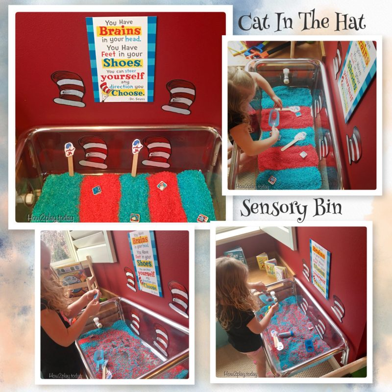 Sensory bin play for kids based on the classic Dr. Seuss story The Cat in the Hat. Great for Dr. Seuss week for preschool, homeschool, kindergarten.