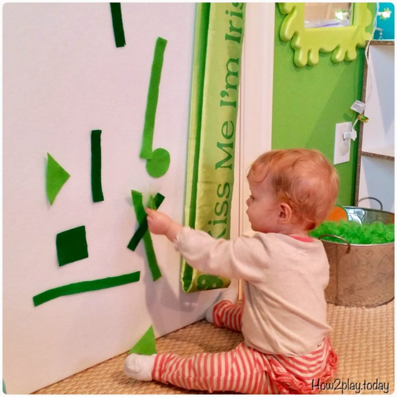 This DIY felt board is perfect for infants to play with all year round or pull out the green shapes to celebrate St. Patrick's Day