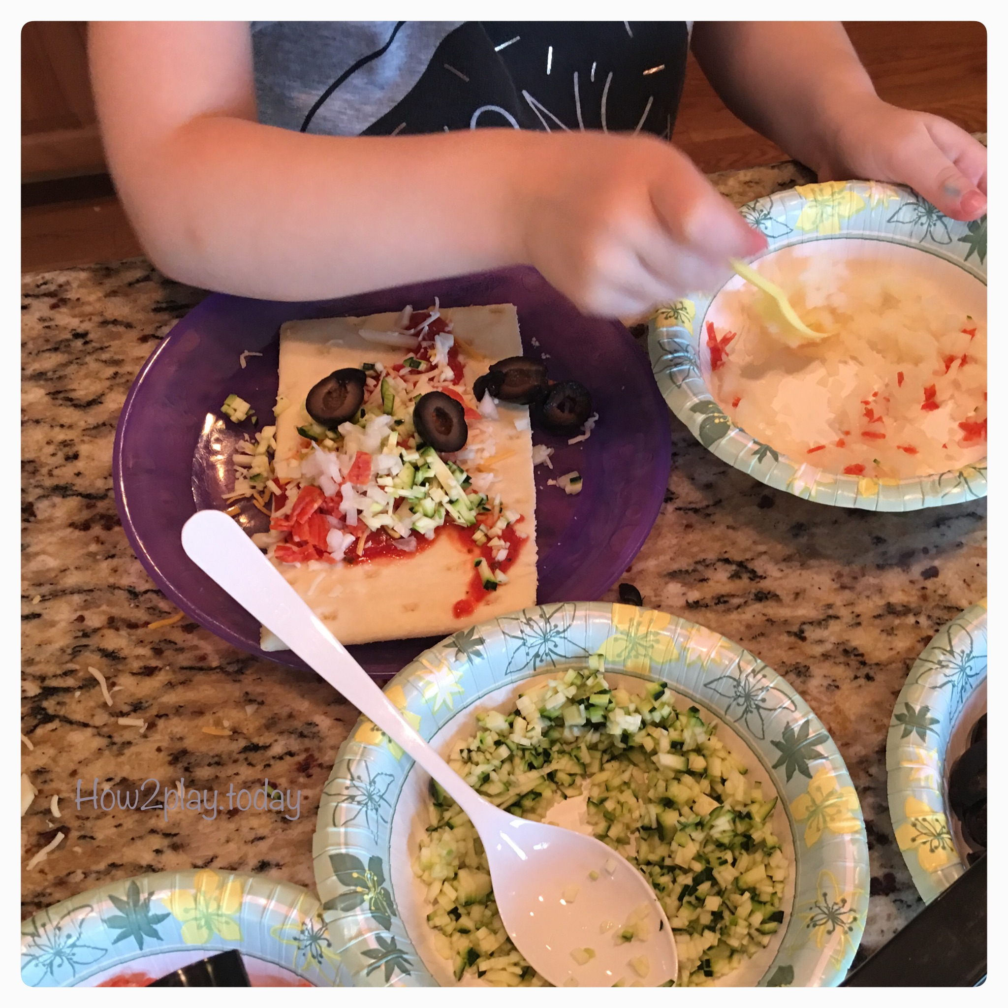 Build Your Own Pizza: we like to do Friday Family Nights so this week we decided to focus on pizza. Getting the kids involved in creating their own dinner, teaches responsibility, patience, and improves listening skills. Plus you can continue the fun and encourage them to do their own dishes.