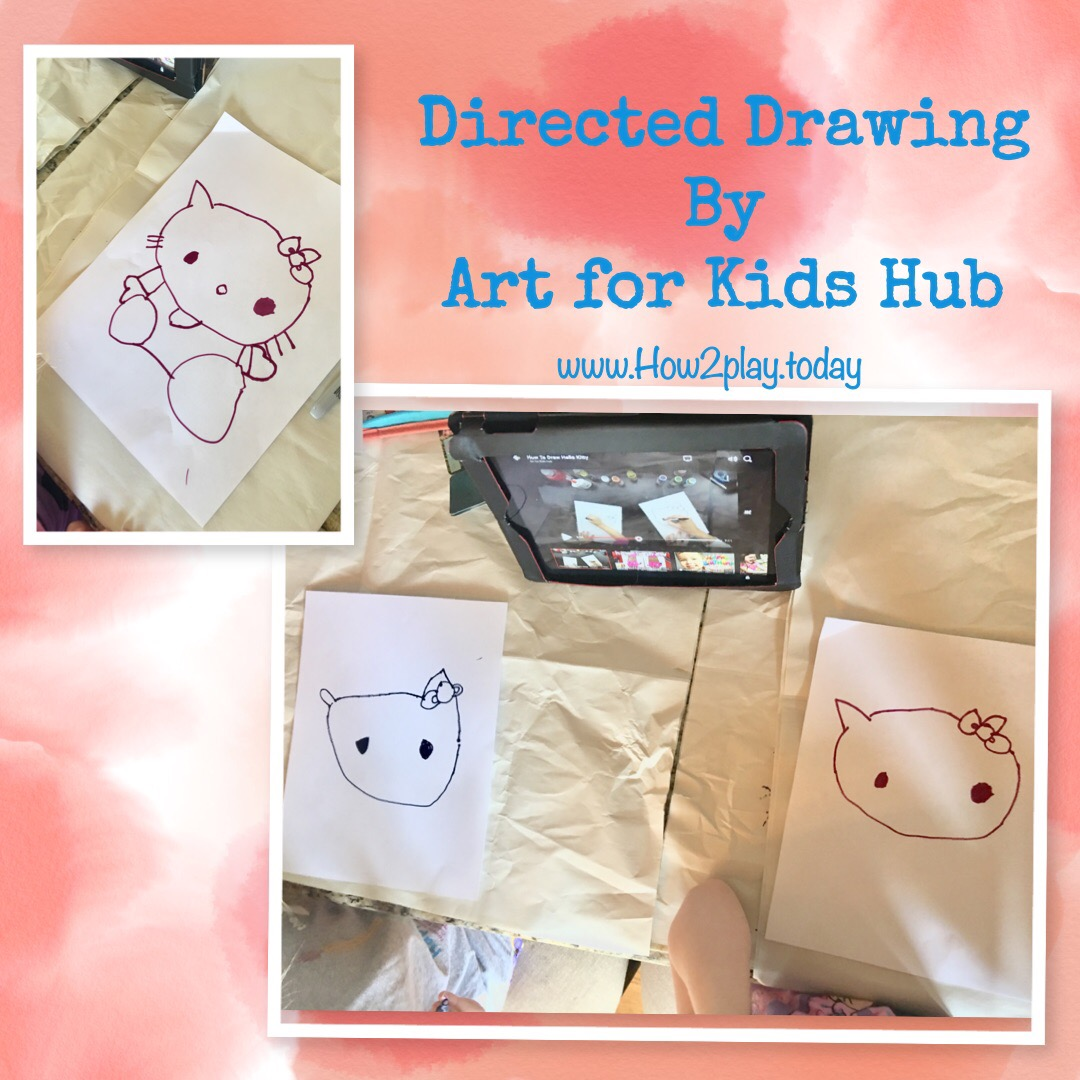 Directed Drawing by watching and learning from You Tube channel: Art for Kids Hub. Fun for any age and always good to remind kids that how ever their drawing turns out is wonderful since it's all about learning how to follow directions, shapes and increasing our listening skills.