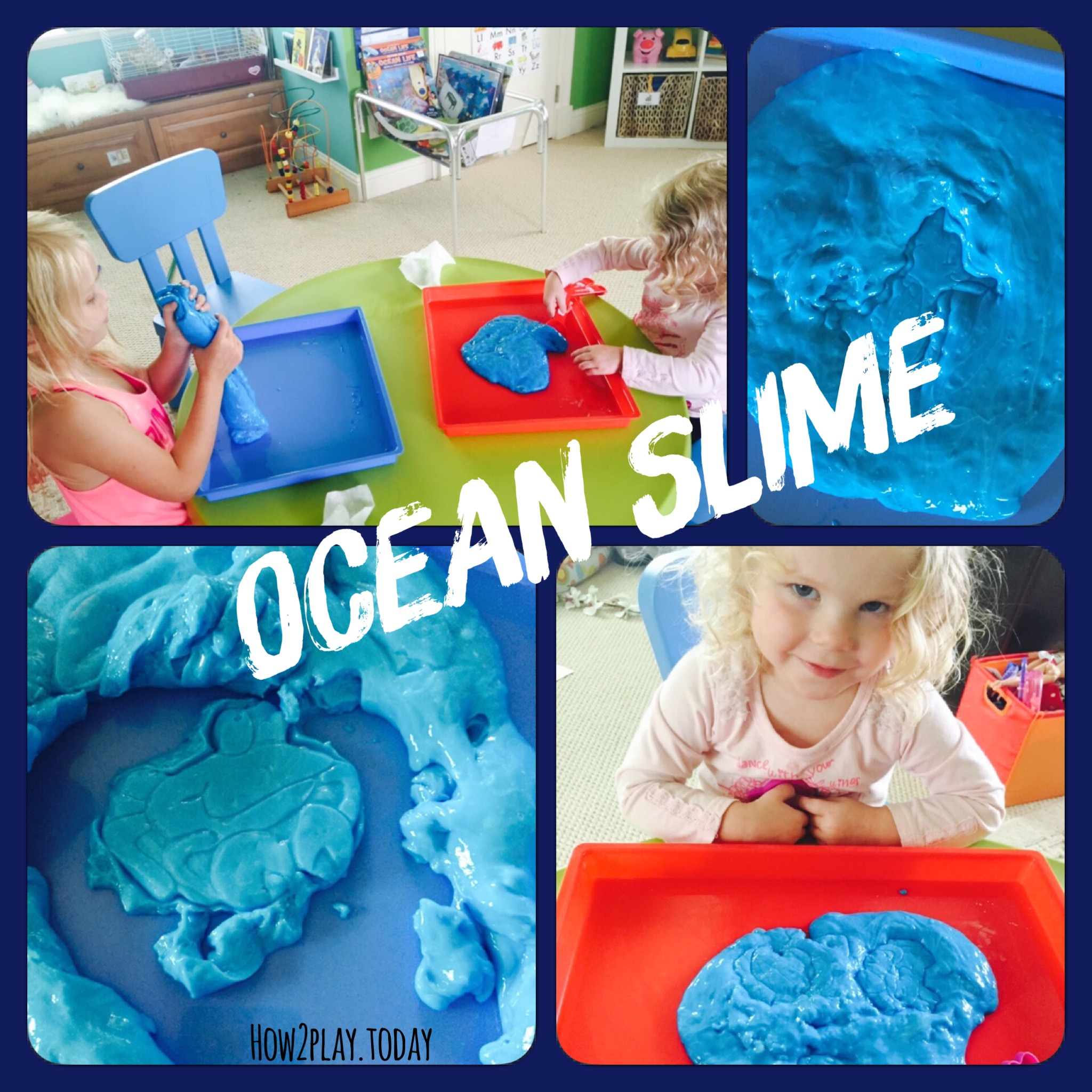 Homemade ocean slime is great for sensory play. Add some seashells or plastic fish and you're all set.