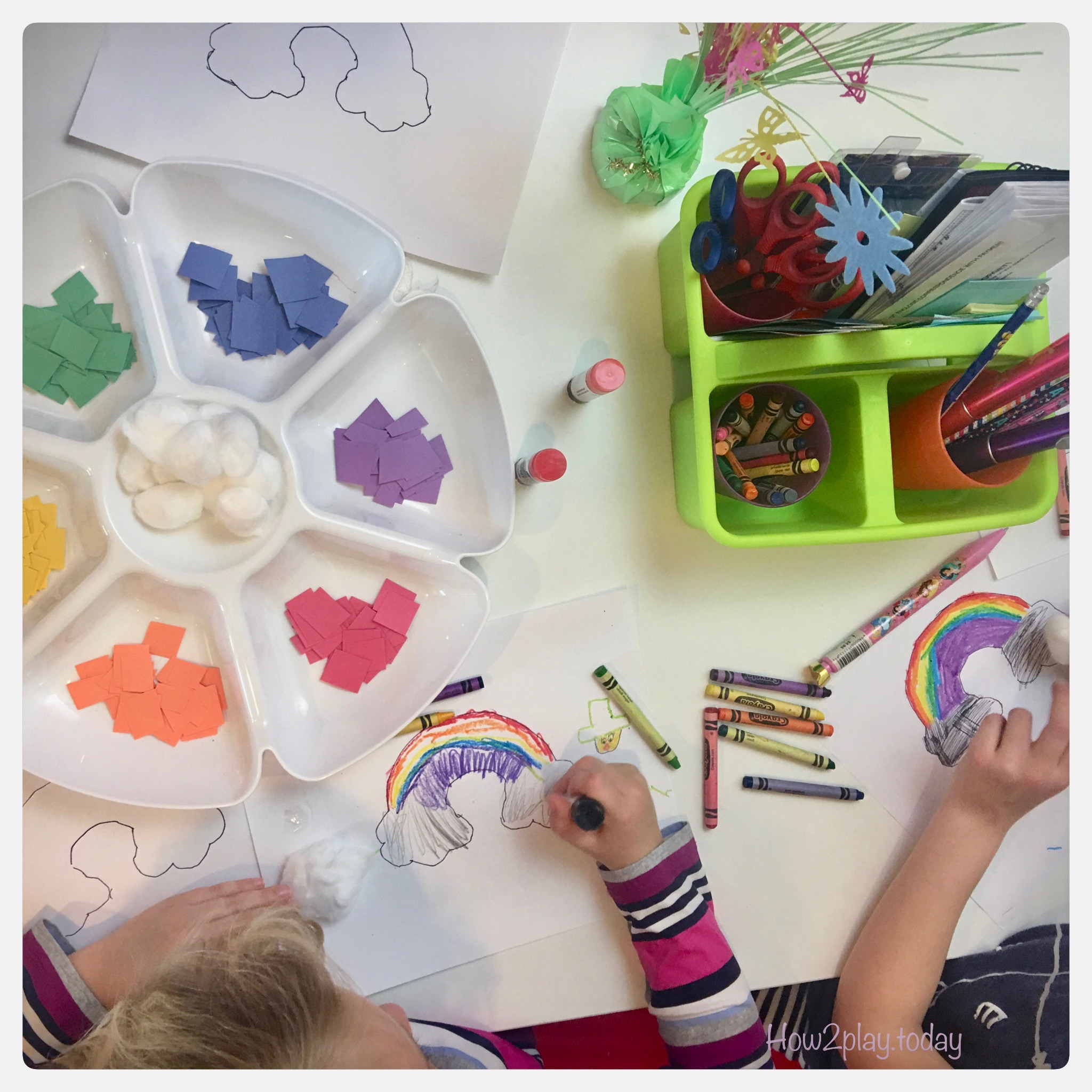 Rainbow art is fun for St Patrick's Day, weather study unit or just to explore with colors.