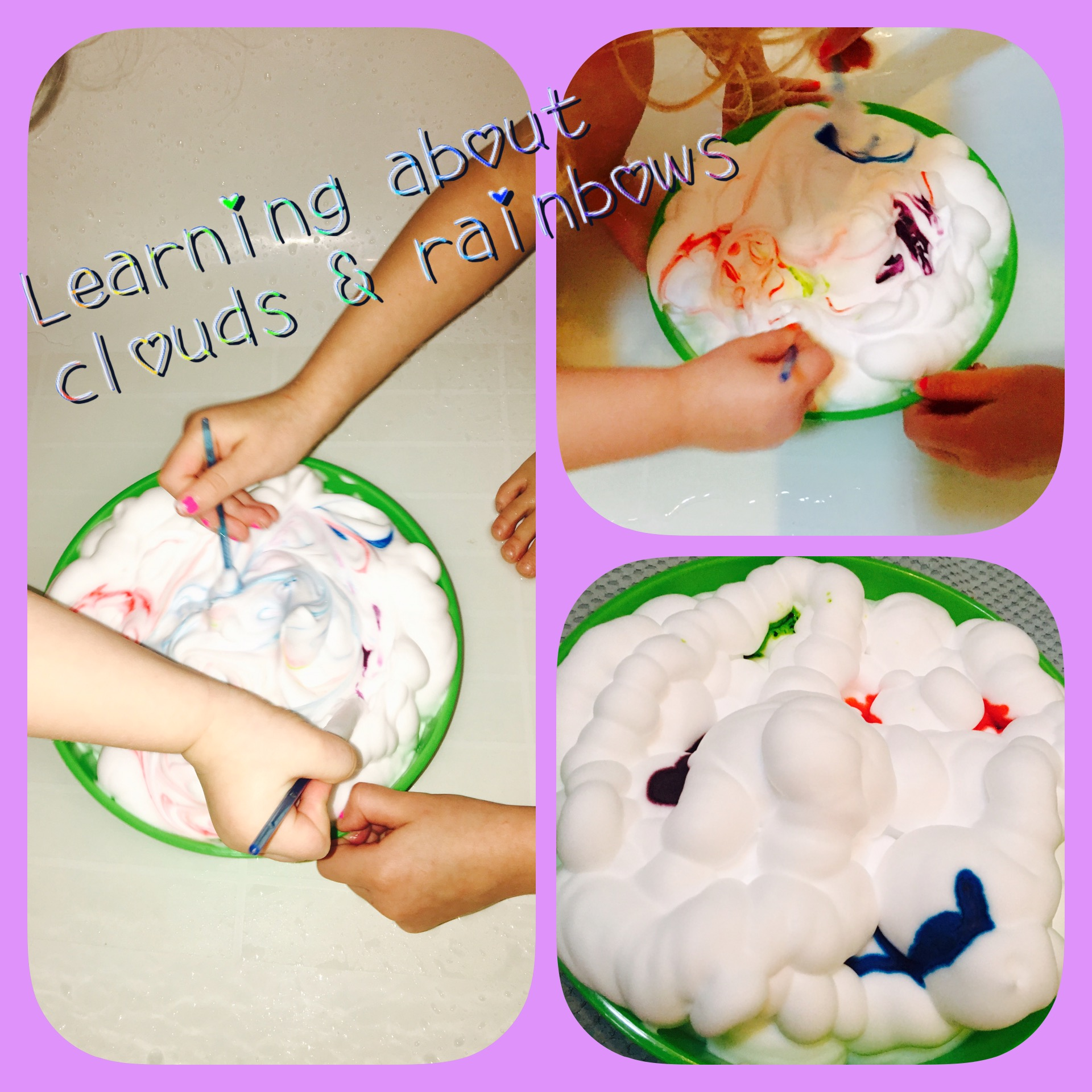 Learning about clouds and rainbows is fun when you use shaving cream. Easy clean-up: let them play in the bathtub then wash!