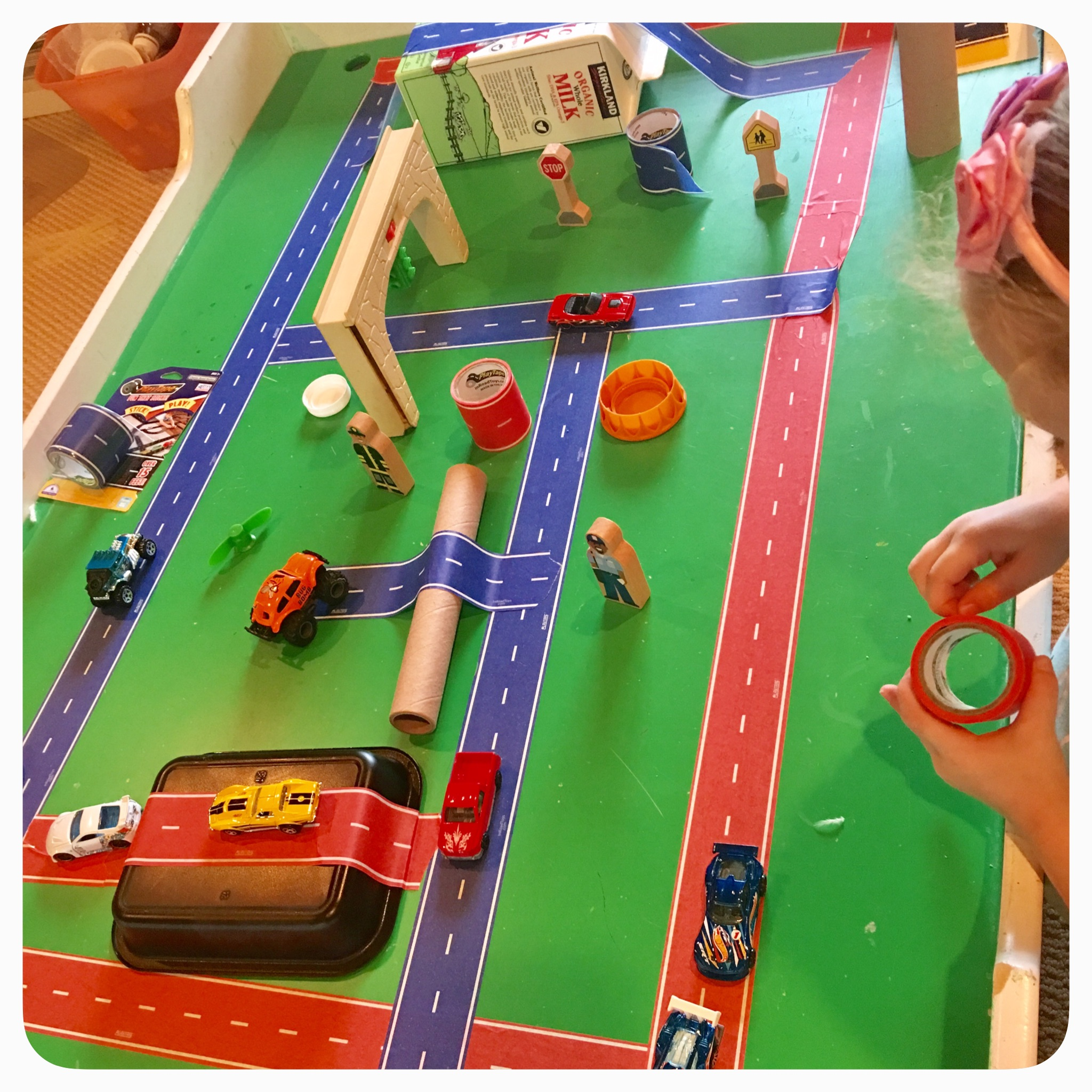 In Road Toys: great for letting kids express their our creativity and build a city exactly how they wish! This #playtape sticks but does not damage the surface at all and is super easy to pull off!