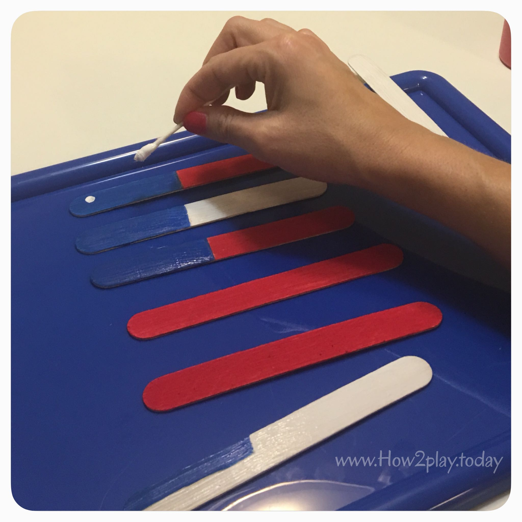 Simple American Flag puzzle using craft sticks to celebrate 4th of July or Veterans day