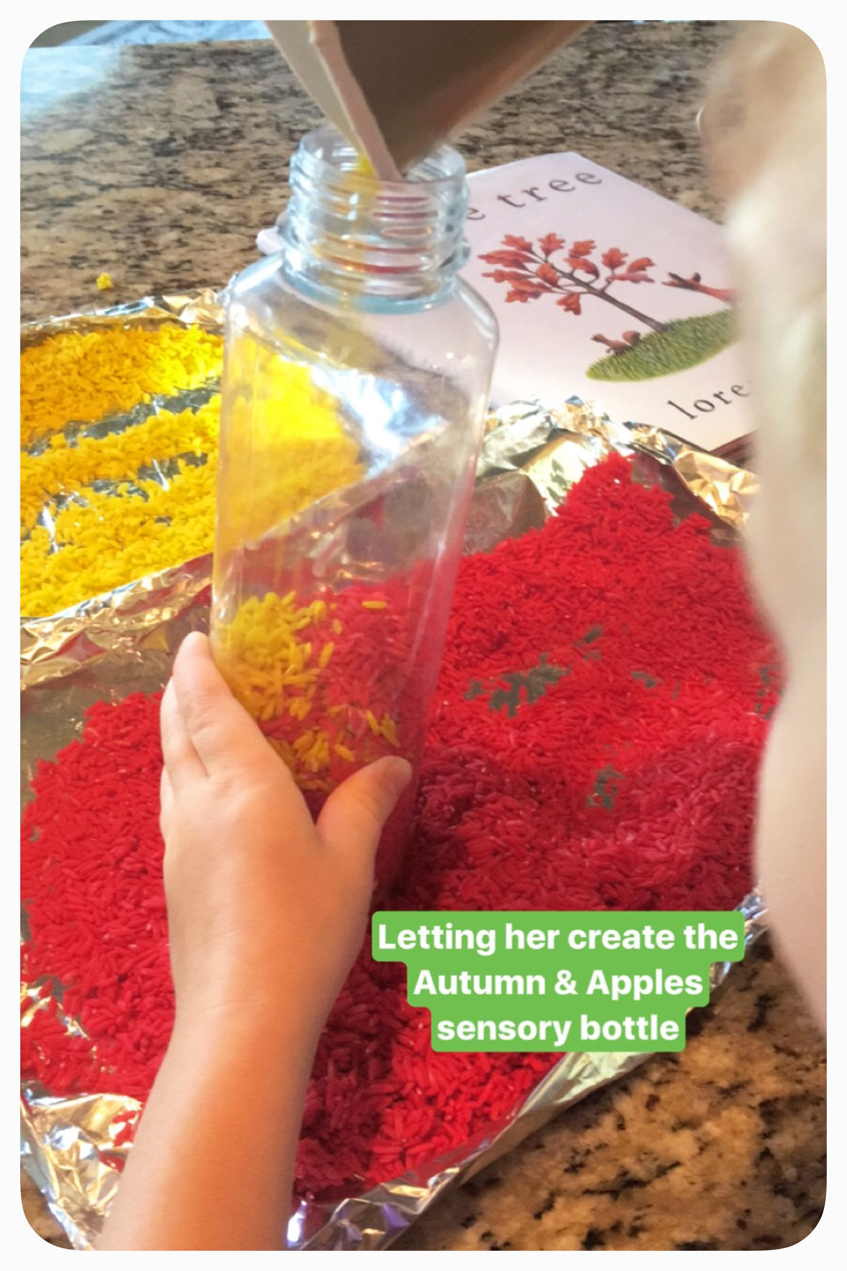 Creating simple sensory bottle activities to encourage sensory play and literacy (A is for apple) @how2playtoday