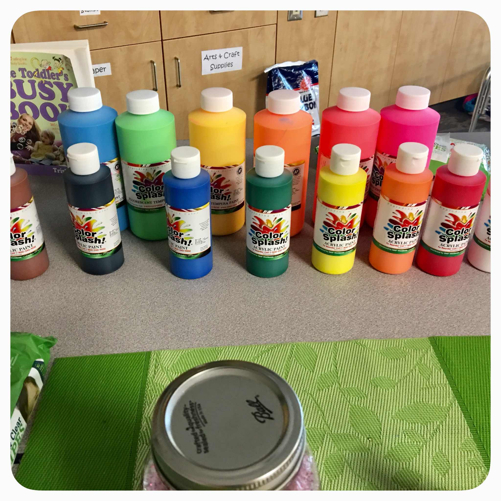 Toddler Sensory Bin - Amazing how much play kids can get out of such simple sensory materials. Acrylic paints to dye the rice .