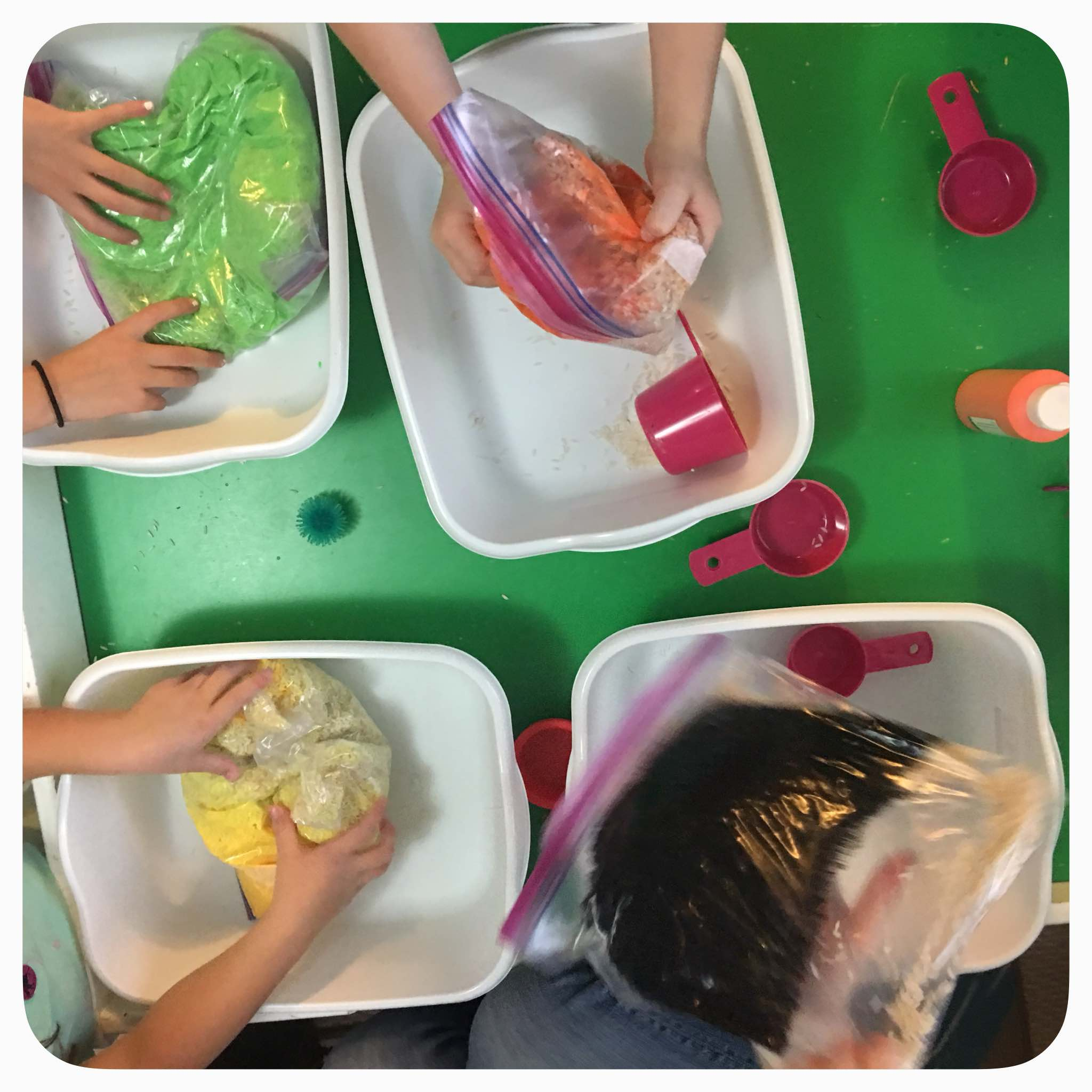DIY Sensory Bins: After you ensure the baggie is sealed tightly, let the children squish the paint all around, covering all of the rice. Fun sensory activity all on its own.