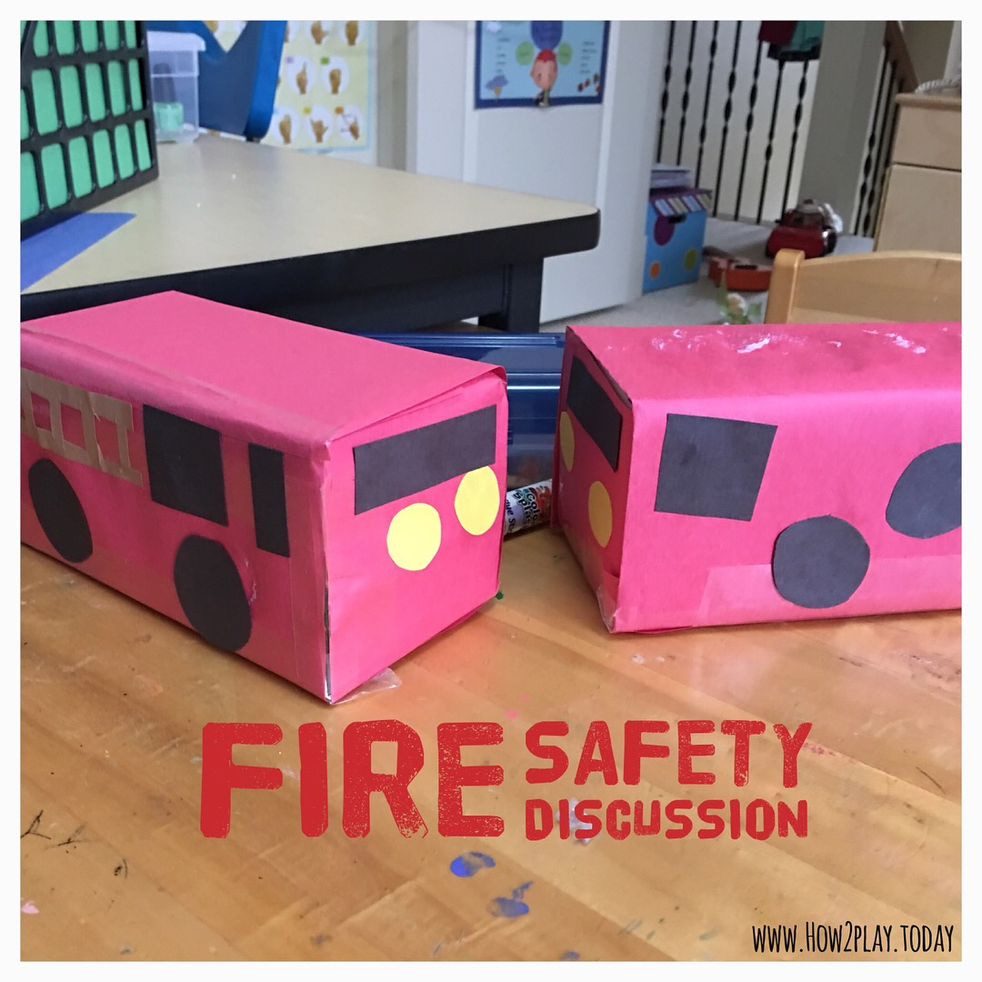 Fire Safety Week: learning about fire fighters and fire safety. Here's a simple DIY box fire truck the children can create to play with.