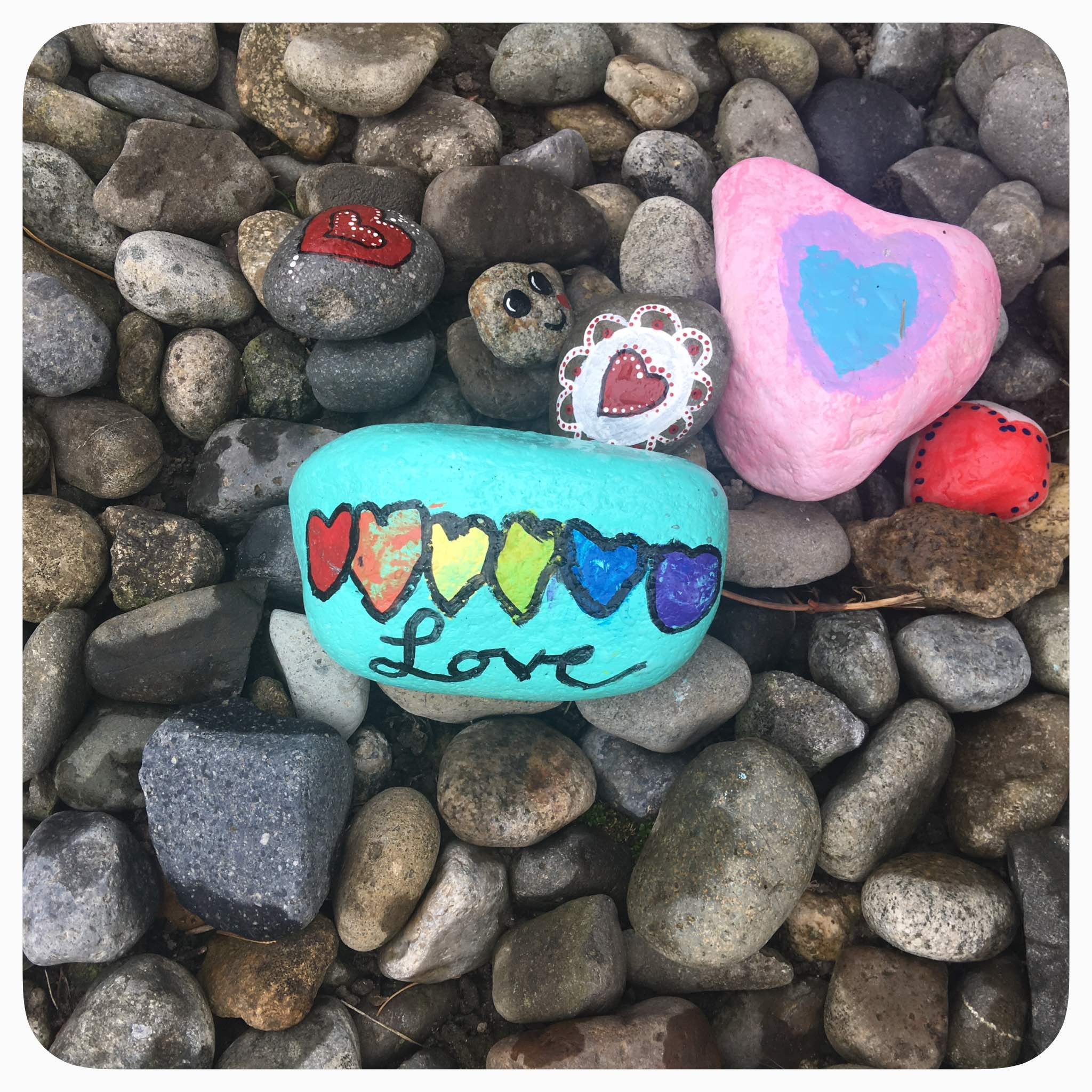Rainbow inspired rock painting. This is a family friendly and inexpensive activity to keep children entertained. There are many rock groups you can join online.