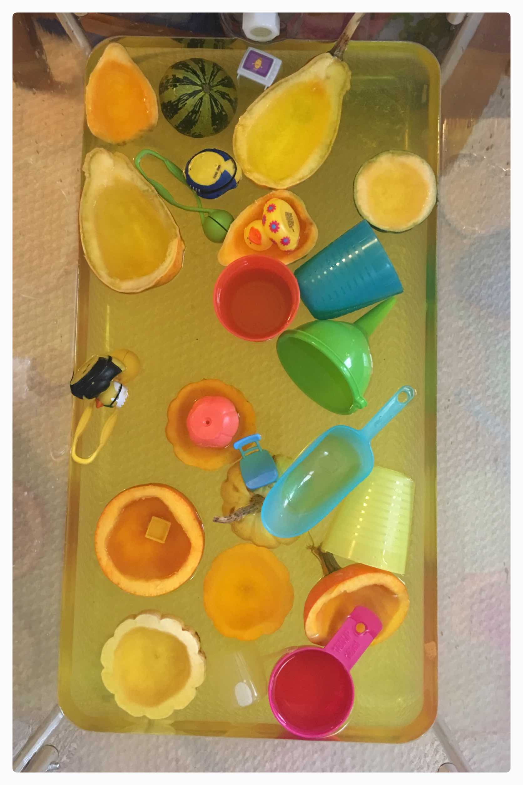 Creating simple sensory bins to celebrate the fall season