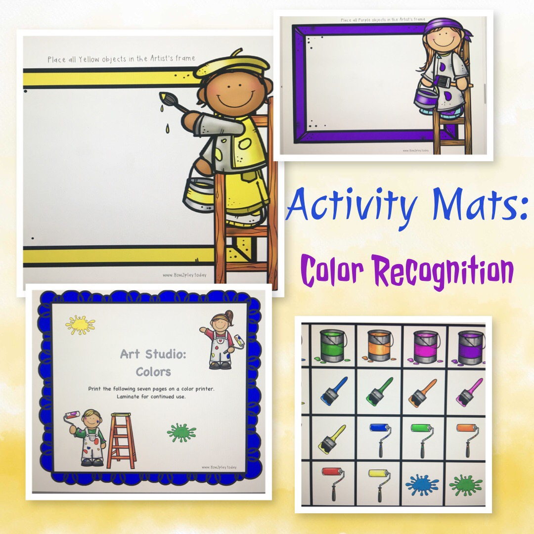 Creating simple activity mats to learn through play. Art Studio: color recognition