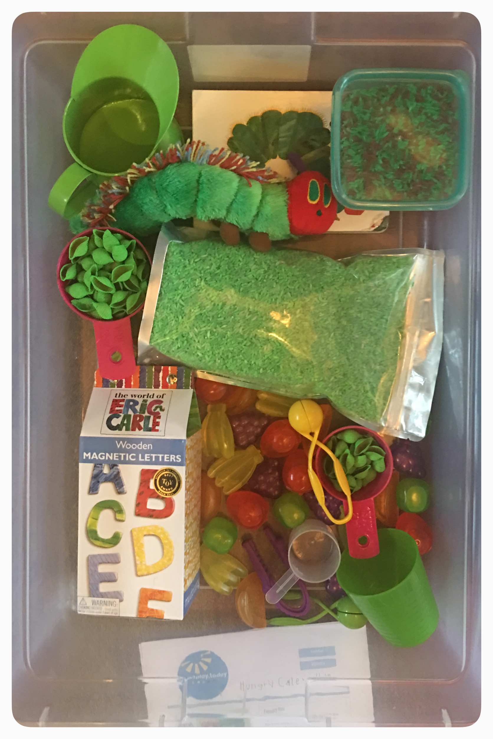 The very hungry caterpillar inspired sensory bin.