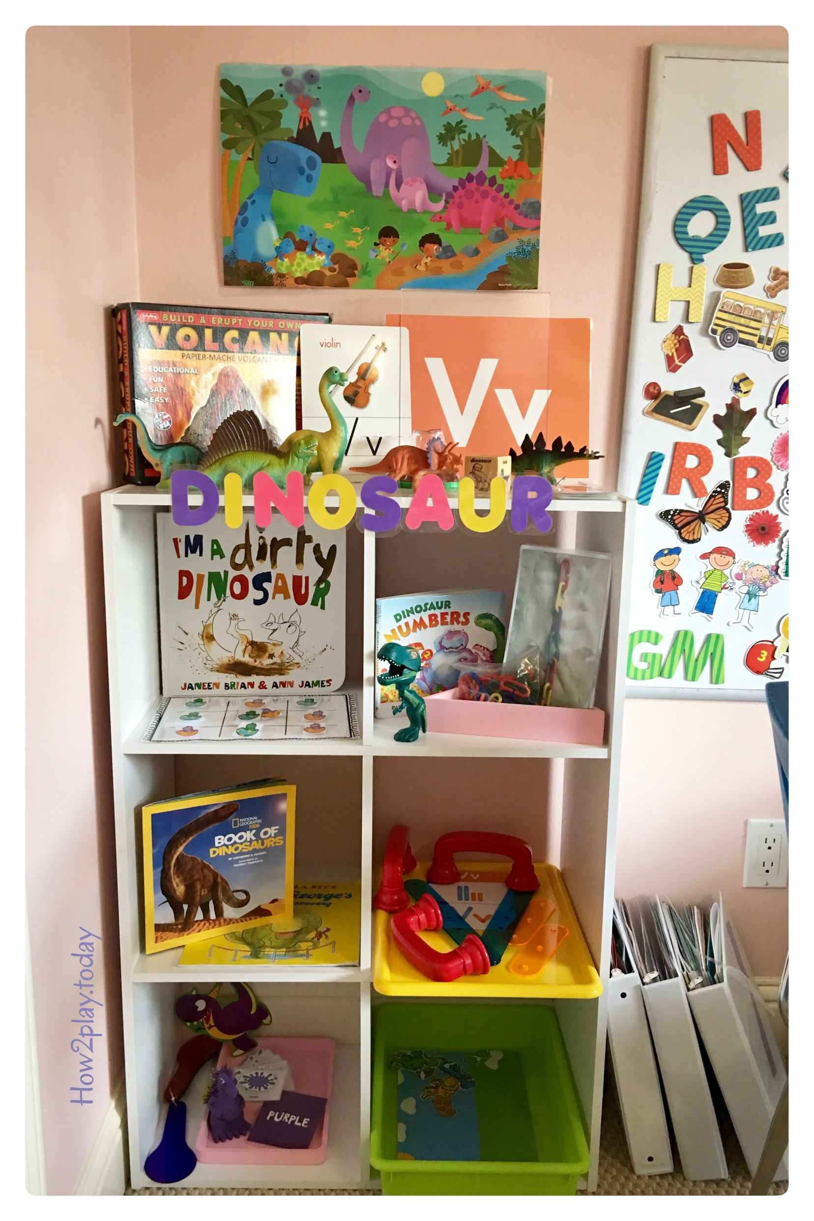 Dinosaur Literacy Center: V for Volcano, Dinosaurs, games to teach letter recognition, sorting, counting all perfect for preschool, pre-k and kindergarteners.