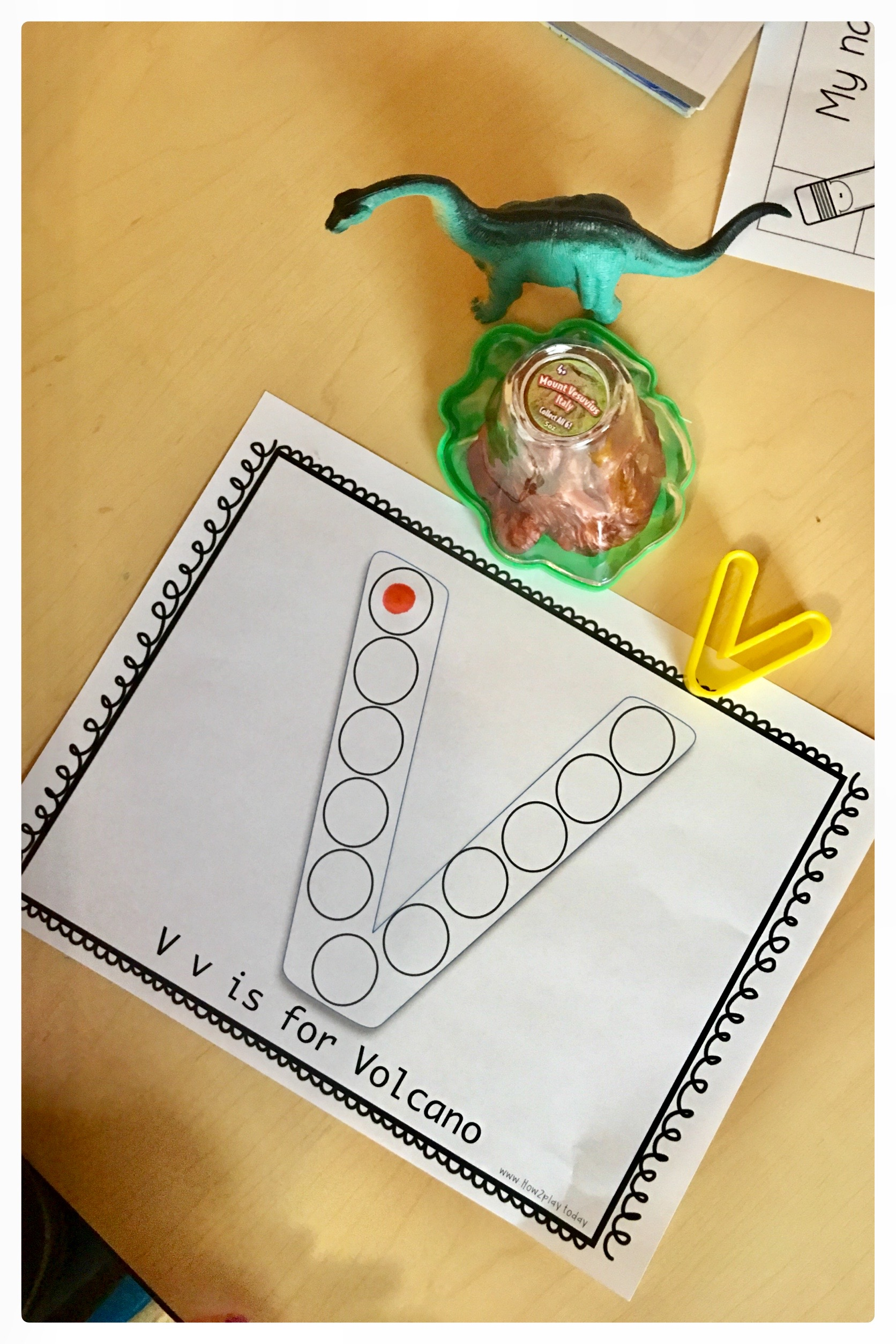 V for Volcano Dot Printable. These are perfect for toddlers, preschoolers, and pre-k for learning letter recognition and fine motor skills.