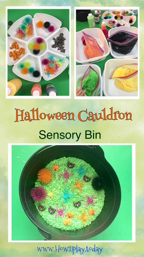 Halloween Cauldron sensory bin: created with non-toxic tempra paint and white rice. Add some fun and brightly colored spooky items and you've got yourself a fun halloween cauldron bin for your kids to enjoy for days.
