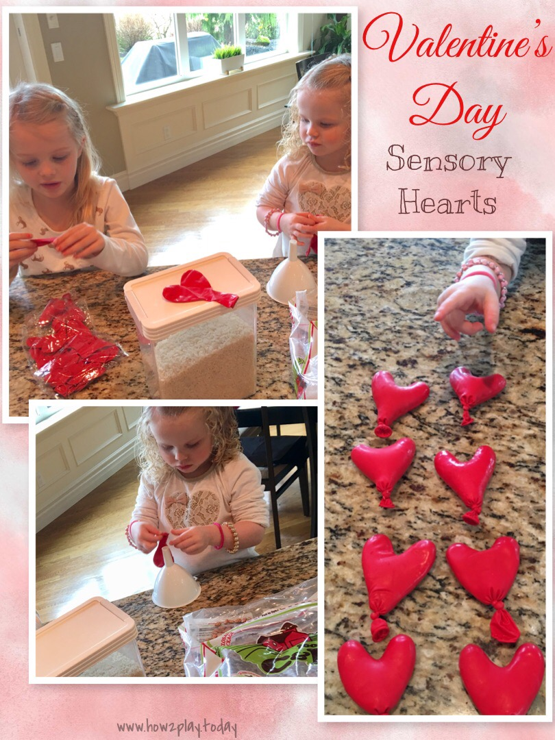 Sensory Hearts made from balloons with simple ingredients you might find already in your kitchen. Makes for a fantastic sensory play activity for your children. These heart balloons are perfect for a simple and fun Valentines Day activity.