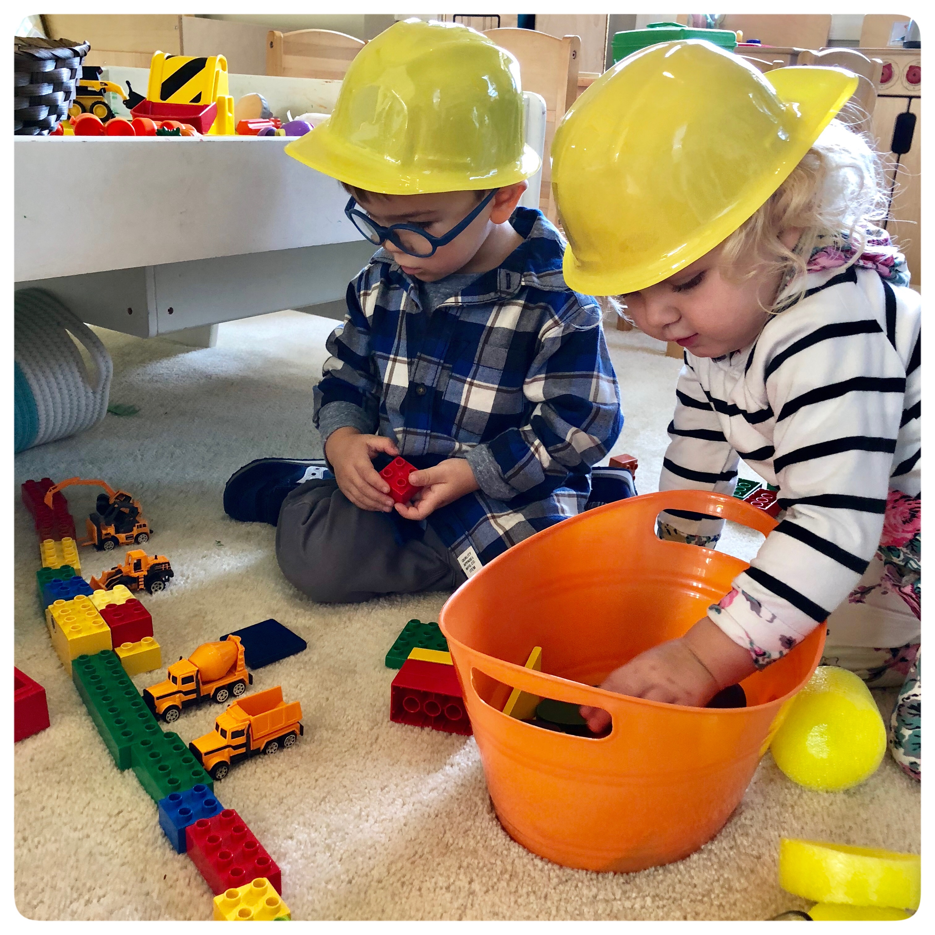 Construction Site!  We will be building math, literacy, science, and social skills during our pretend play.