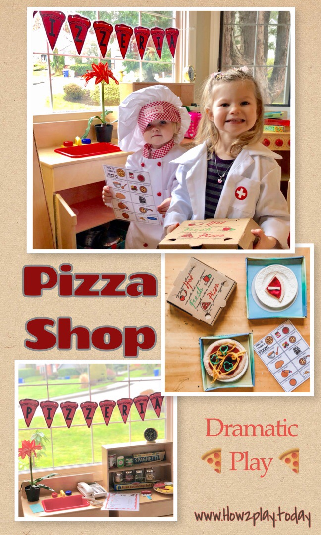 Pizzeria Dramatic Play Center: I am excited to announce that the dramatic play center is changing into a Pizzeria! We will be developing language skills, literacy skills, social skills and math skills during our pretend play. Learning through play @how2playtoday
