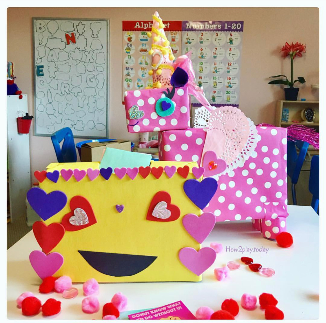 Valentine Boxes: Recycle some small boxes from around your home, cover with wrapping or construction paper, add some fun stickers, ribbon or yarn and you've got yourself some bright and colorful DIY Valentine boxes