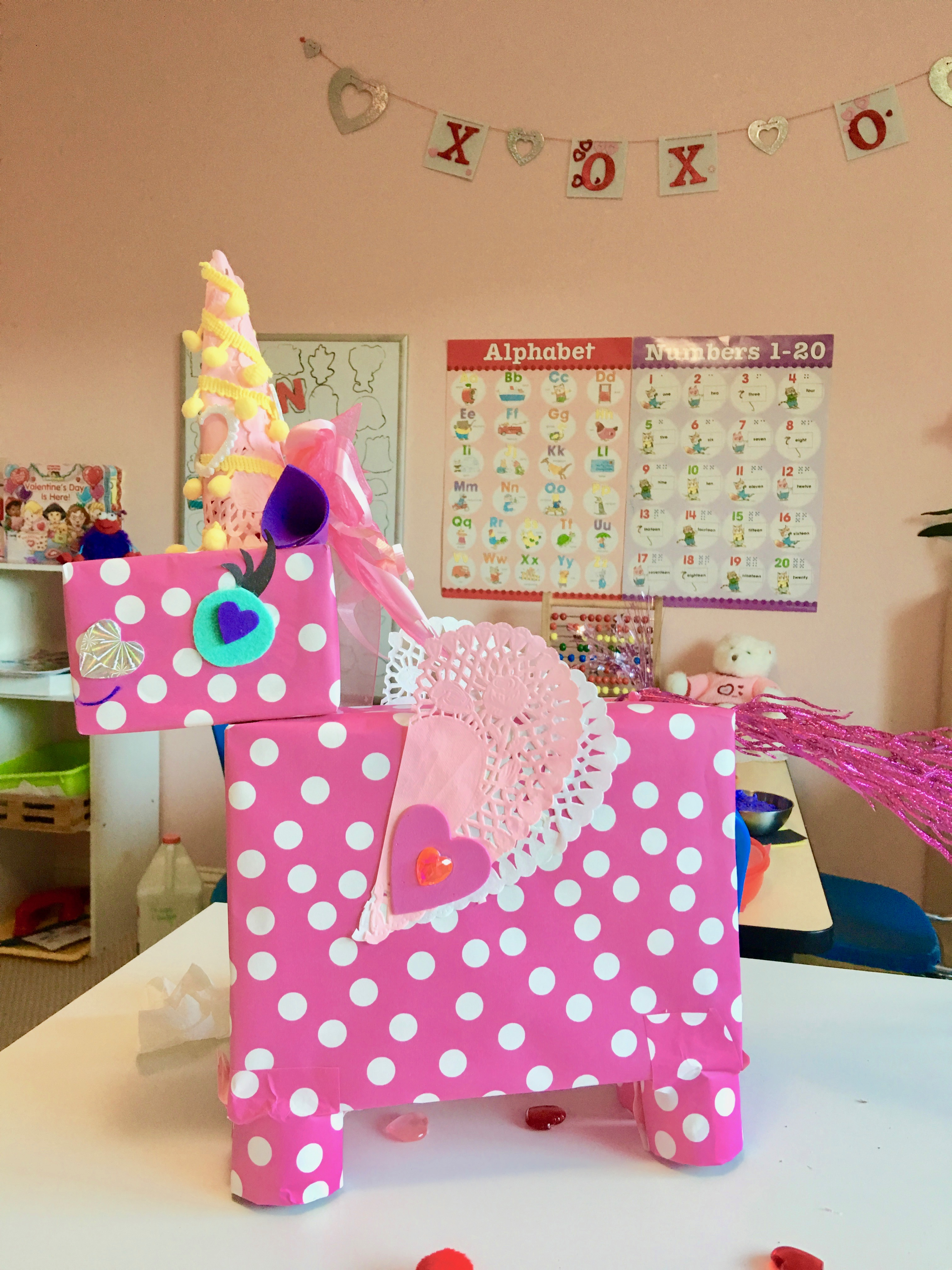 Unicorn Boxes: Recycle some small boxes from around your home, cover with wrapping or construction paper, add some fun stickers, ribbon or yarn and you've got yourself some bright and colorful DIY Valentine boxes