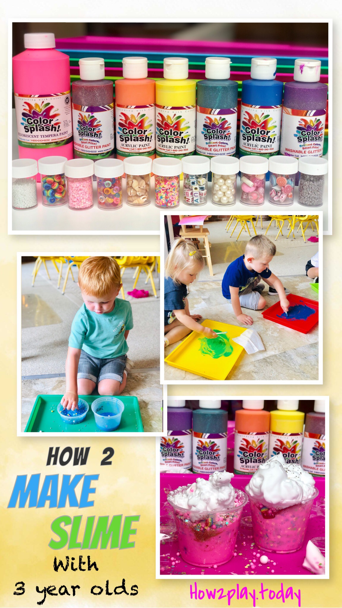 How to create slime with 3 year olds and avoid the worry of messes.