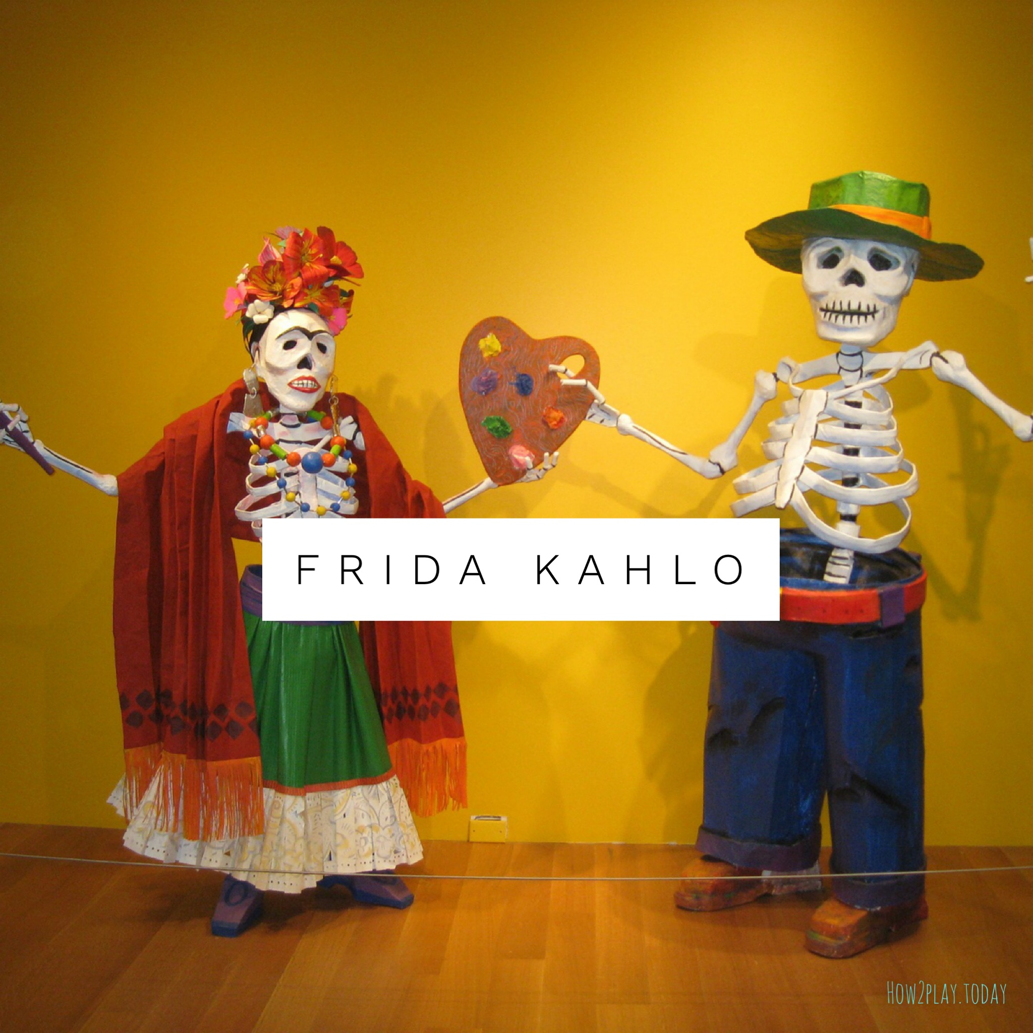 Friday Kahlo inspired art learning / lesson plans for kids. Come explore sugar skulss for preschool and elementary age children. Children will learn Elements of Art, Principles of Design while having the freedom of creative expression.