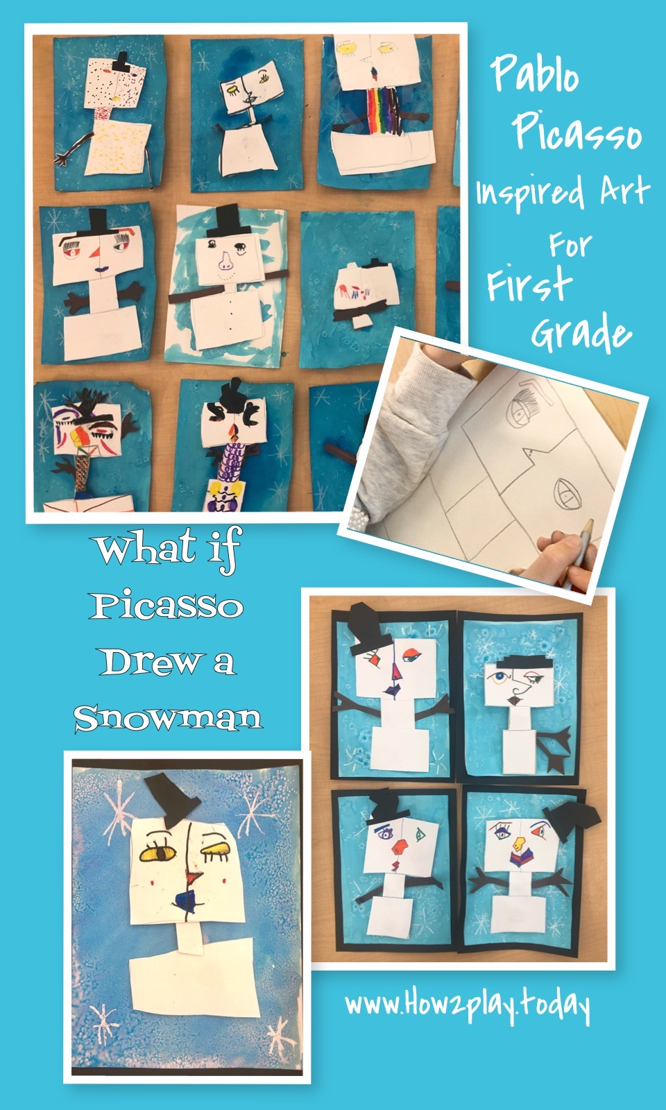 If you were to ask a child to draw a snowman, they would probably draw three circles, stacked on top of one another. Black dots for the eyes and mouth, orange triangle for the nose. ❄️ But what if Picasso drew a Snowman? ❄️ Ask kids questions that allows them to think outside of the box! They just might surprise you. 🎨