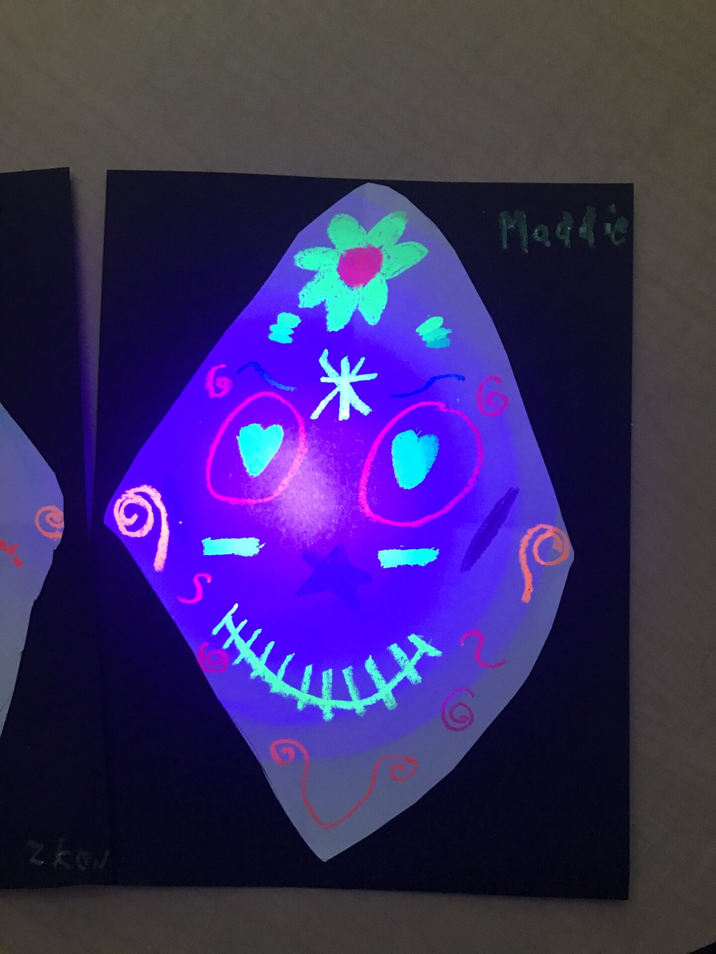 Neon Sugar Skulls - created by students from Grade 3