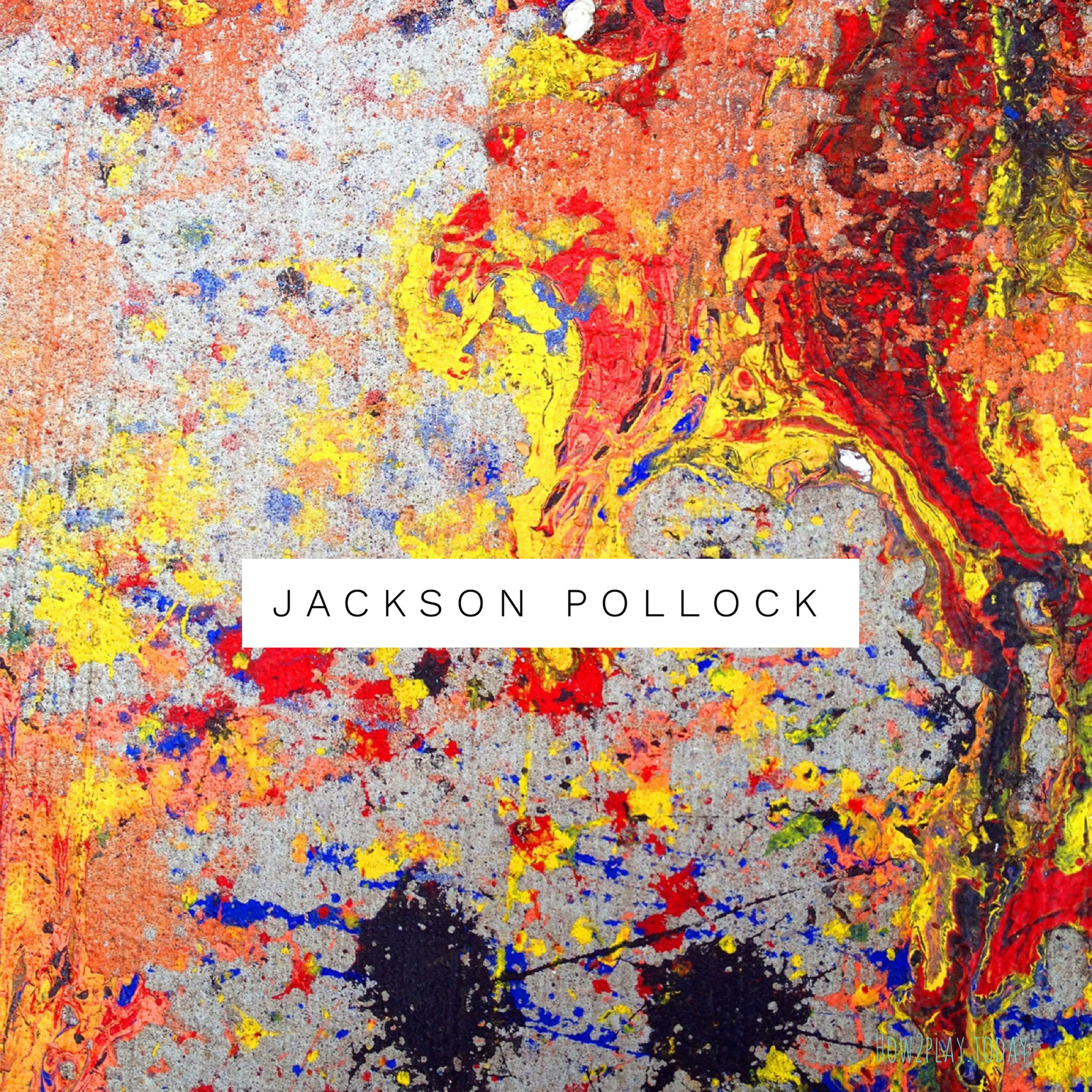 Jackson Pollock inspired art learning / lesson plans for kids. Come explore Splatter Painting for preschool and elementary age children. Children will learn Elements of Art, Principles of Design while having the freedom of creative expression.