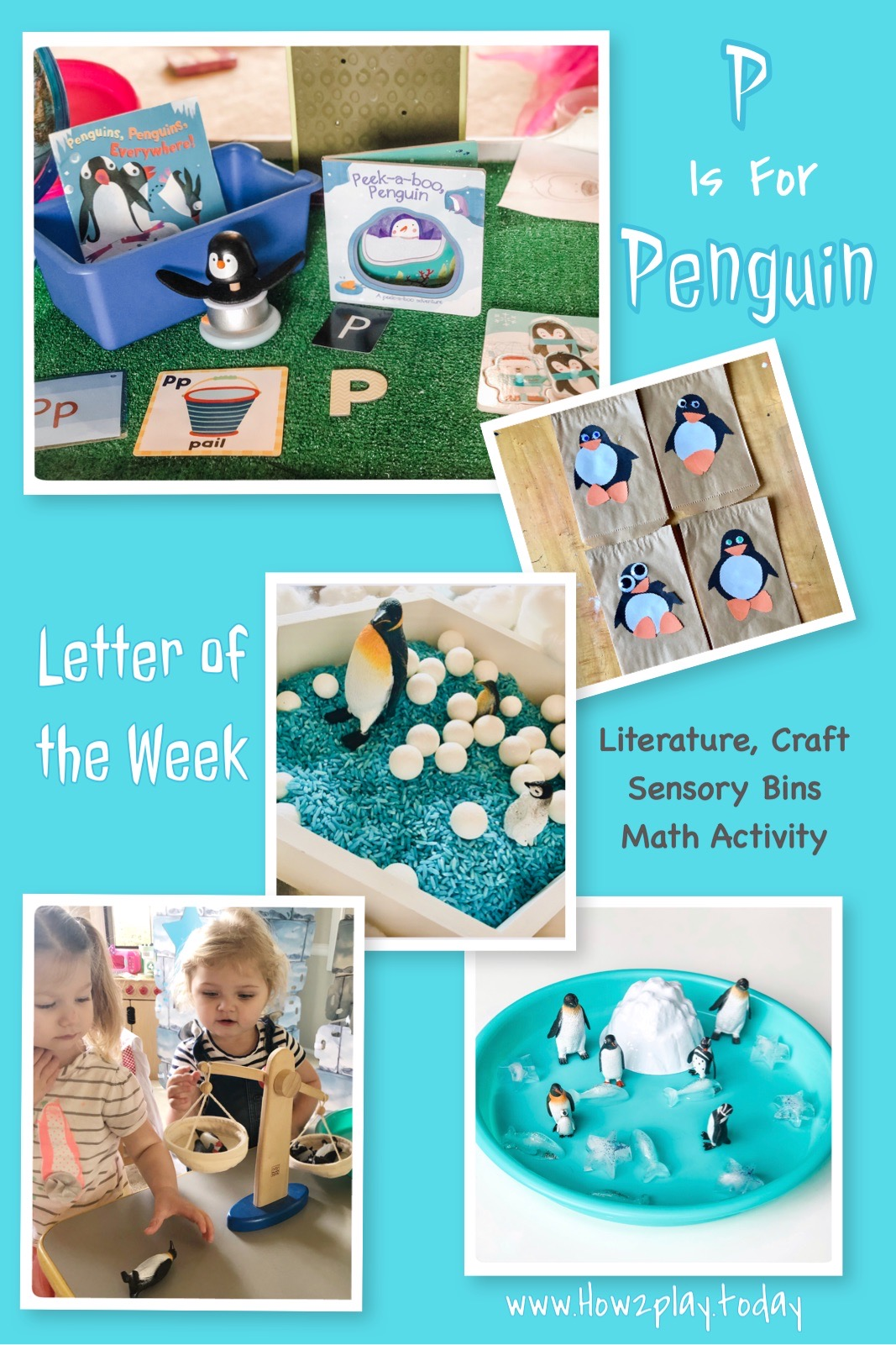 P is for Penguin. Welcome to learning fun and creative ways to teach children letters of the alphabet, including sign language, arts and crafts, sensory bins, sensory trays, and literature.