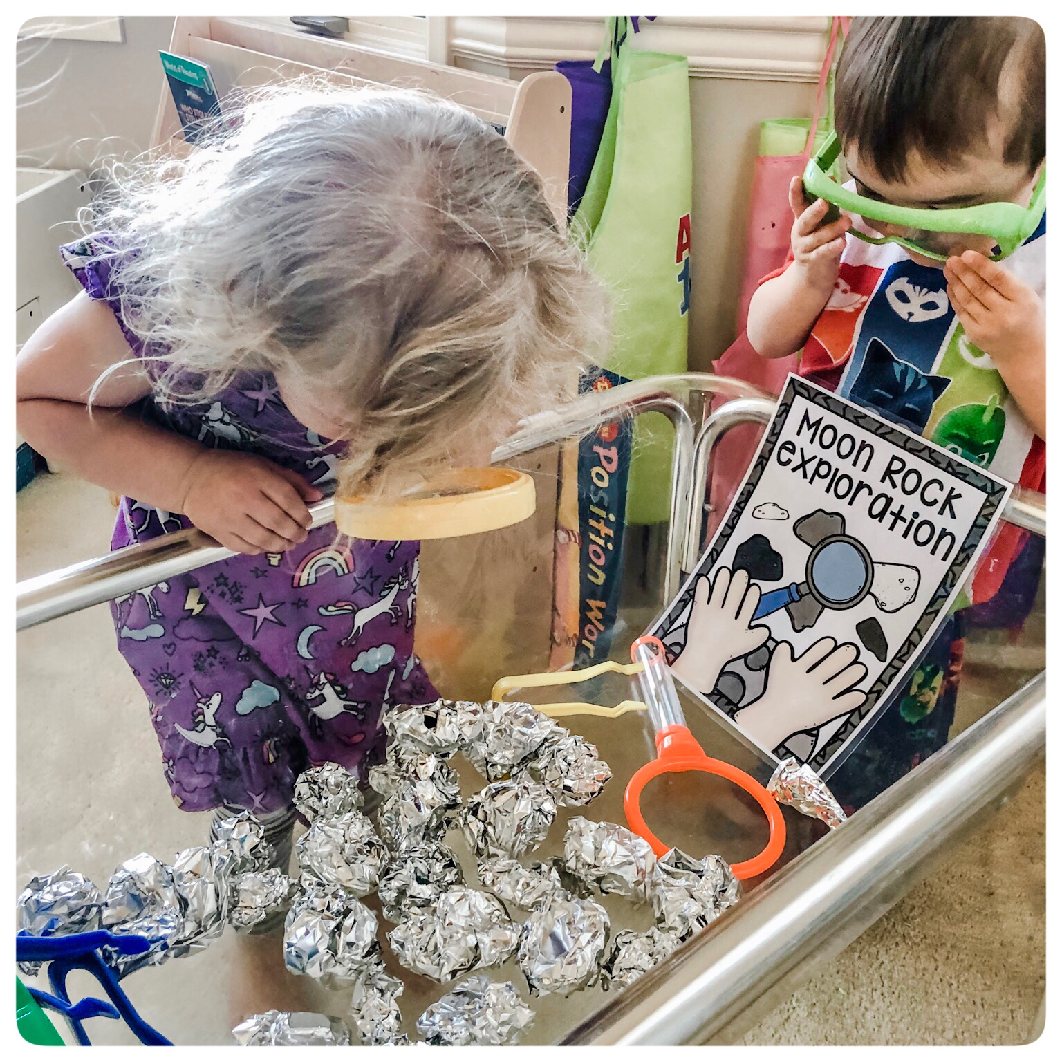 3...2...1... Blast Off.  Our Dramatic Play center is complete with our very own Space Station.  They will be learning through play as they explore Outer Space, dig for moon rocks, and even try out some Astronaut Ice Cream.