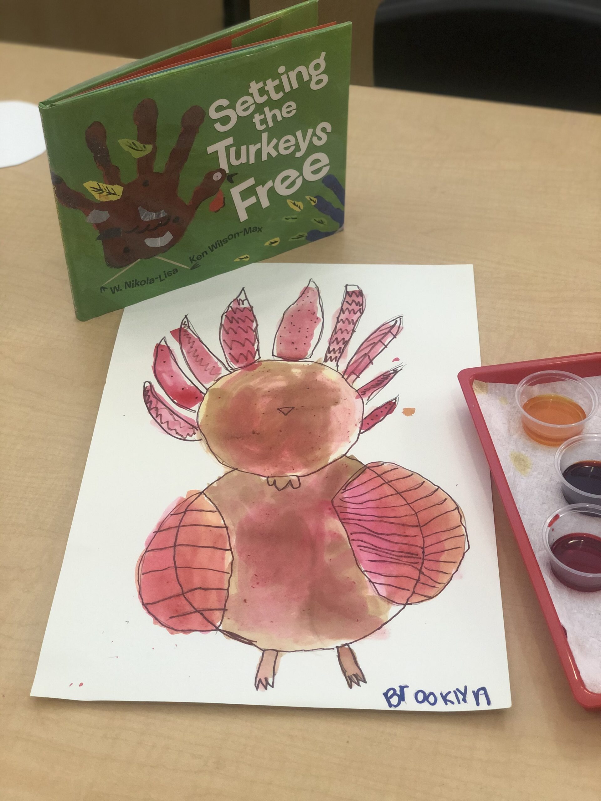 It's Autumn and right now our daylight is shorter, it's colder outside, and the leaves are changing colors.  Chlorophyll makes leaves green. The lack of light outside causes the leaves to change to Red, Orange, Yellow, & eventually brown.  We used these colors in creating our Watercolor Turkeys.  First portion was Directed Drawing and the second half allowed for them to create their one-of-a-kind Wild Turkey. We discussed different types of lines in the drawing of their unique feathers.