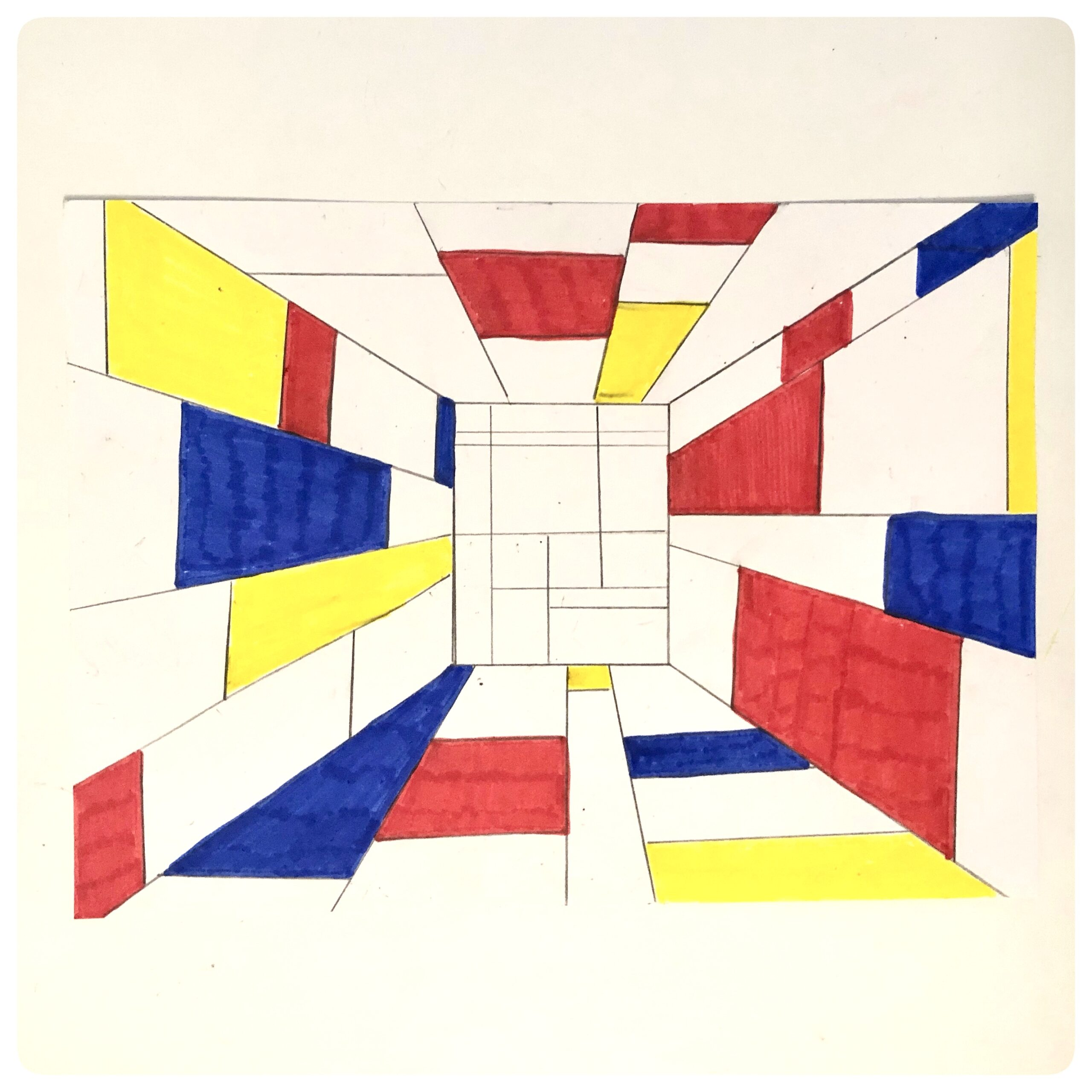 Perspective Drawing: Creating ways to think about abstract art while learning about Piet Mondrian