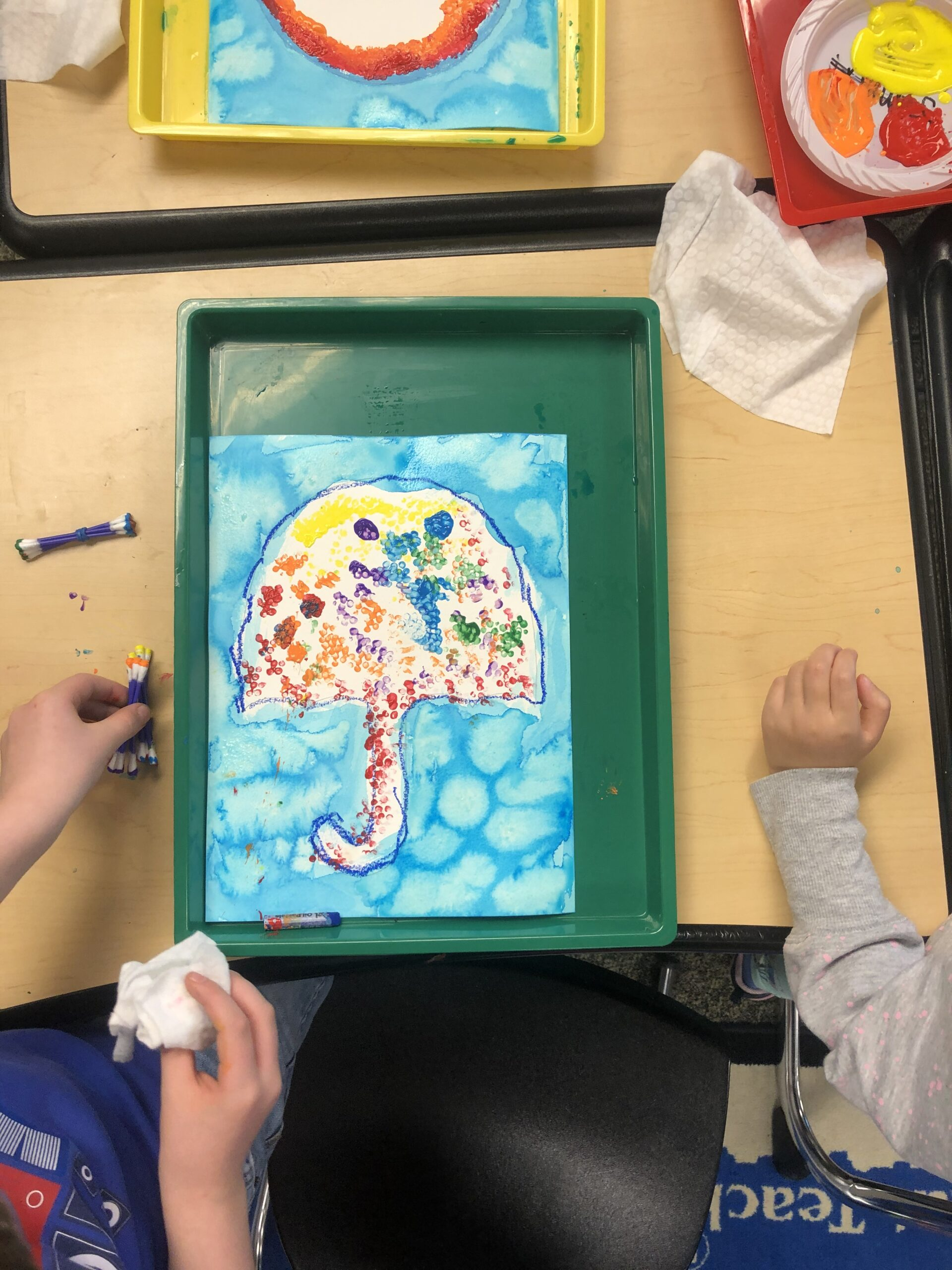 Pointillism Art Project. These are created by First Graders while they learned about French painter, Georges Seurat