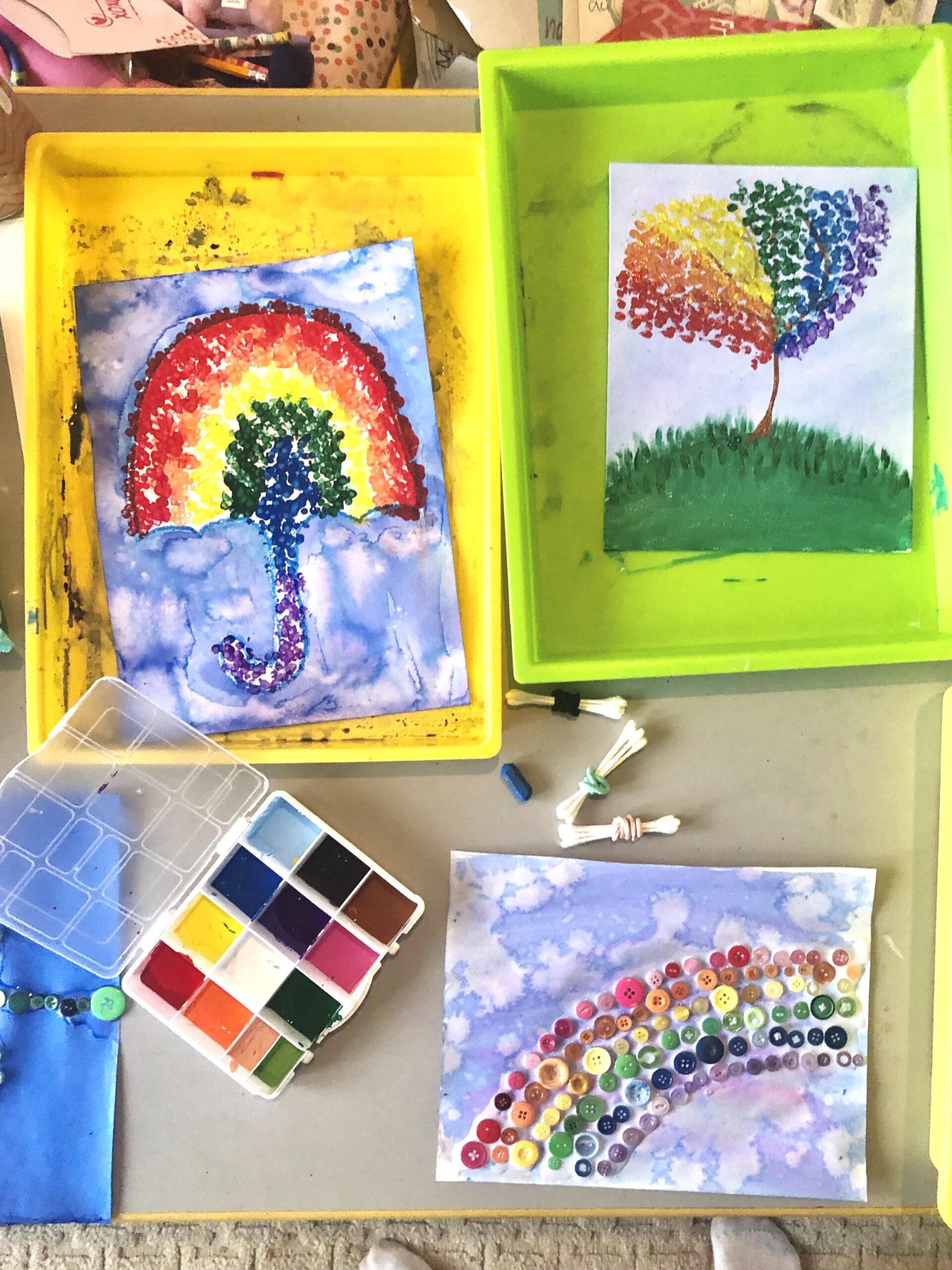 Pointillism 🌈 Rainbow Style. The Artist of the Month is Georges Seurat, a French painter who developed Pointillism. His famous piece, Sunday Afternoon on the Island of La Grande Jatte, took him 2 years to finish and is 10 feet long. As part of our projects this month, each grade will be taking a portion of his artwork and adding their own flare to it. The Fabulous First Graders have added their own spring time spin to the umbrellas. 👉🏼 Check out how unique they all are... {we also used a unique item other than q-tips. Can you guess what that is?}