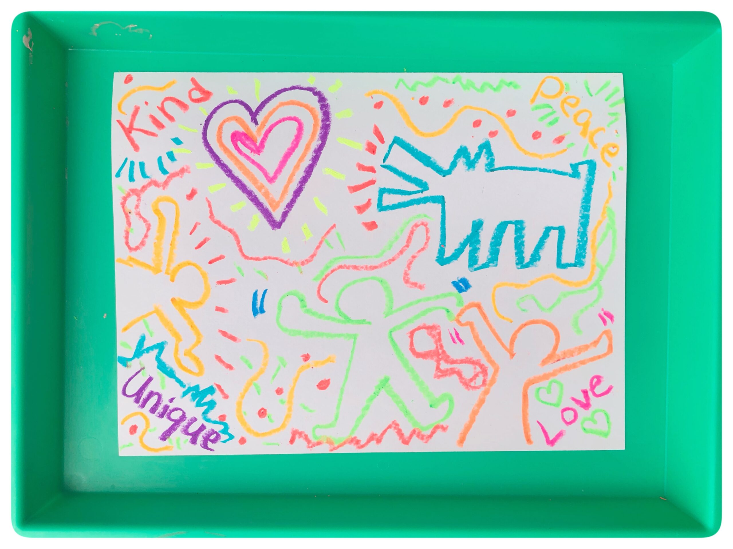 Art for Kids to learn about famous artist, Keith Haring.  This beautiful piece was created with mixed media paper, neon oil pastels {quite possibly my Favorite thing ever}, and ... Black liquid watercolor. Now that's one way to make it P O P !! .
