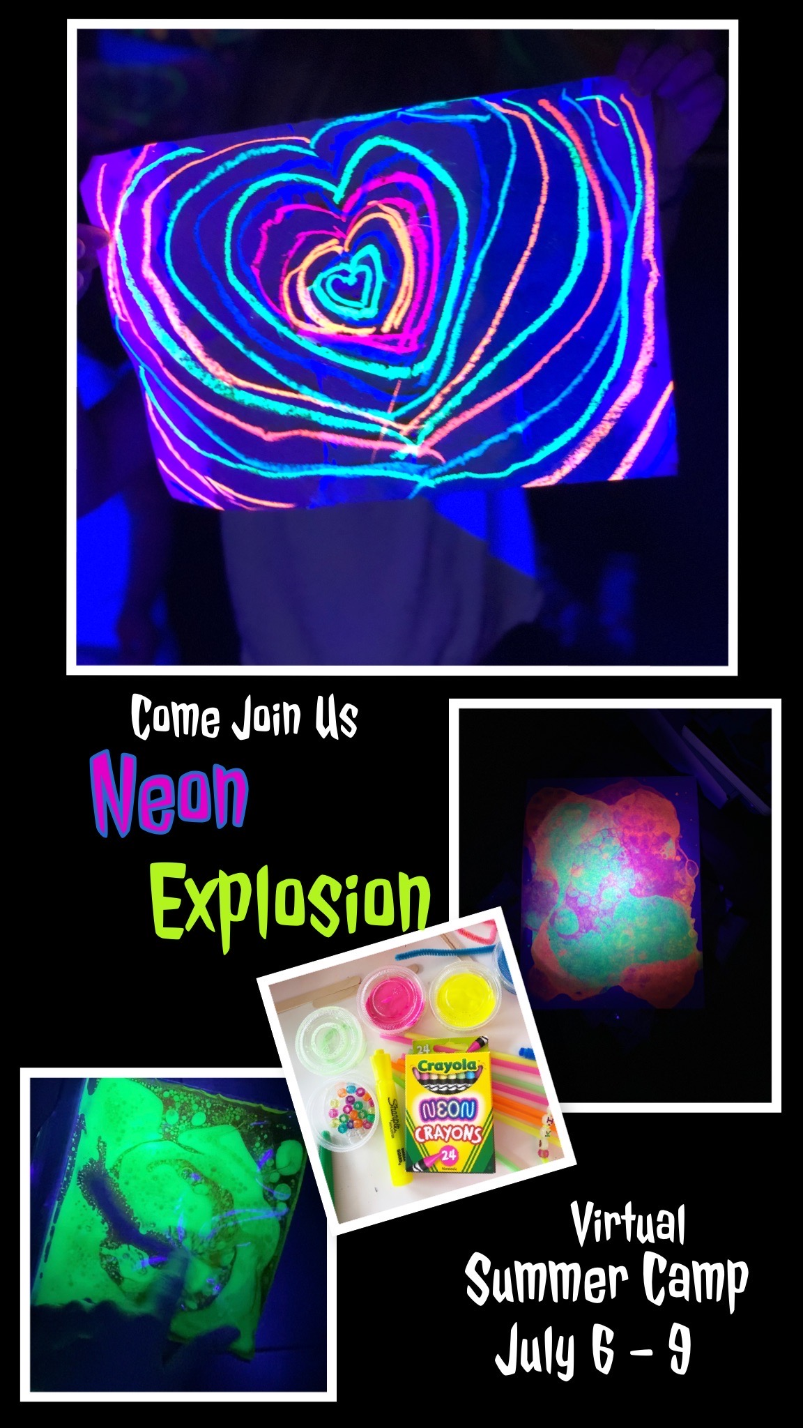 Virtual Summer Camp: Plan for some fun as we dive into the world of Neon Style by creating your own abstract canvas art, bubble art with fluorescent paint, concentric designs, and so much more. {warning, you child may end up covered in highlighters but it does easily wash off}