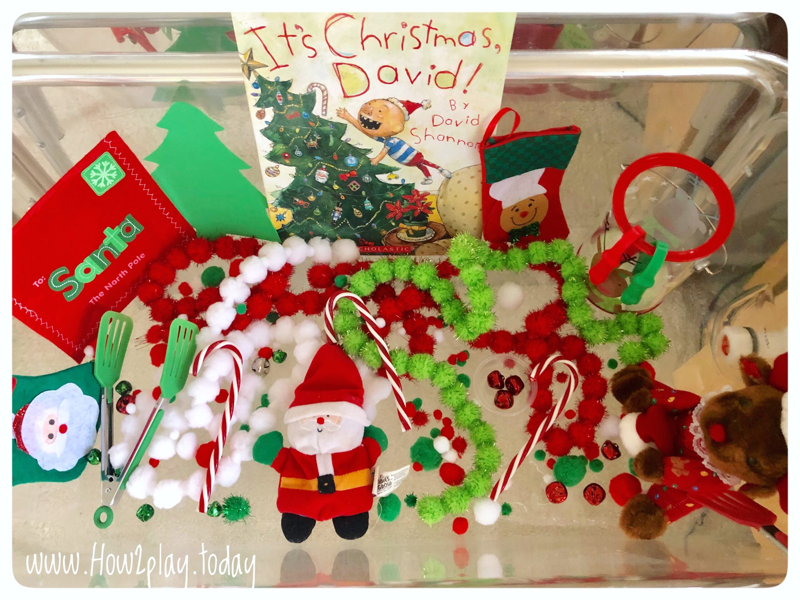 It's Christmas, David Sensory Bin: creating a sensory bin focused around a child's favorite book encourages continued play and love of reading