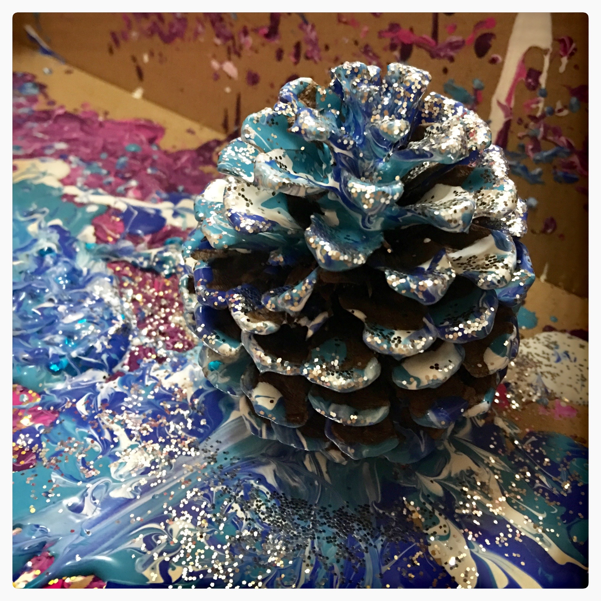 Pine Cone Process art - just use an old shoe box, add some paint, a pine cone from your nature walk, and maybe some glitter. Close the lid, and Shake!