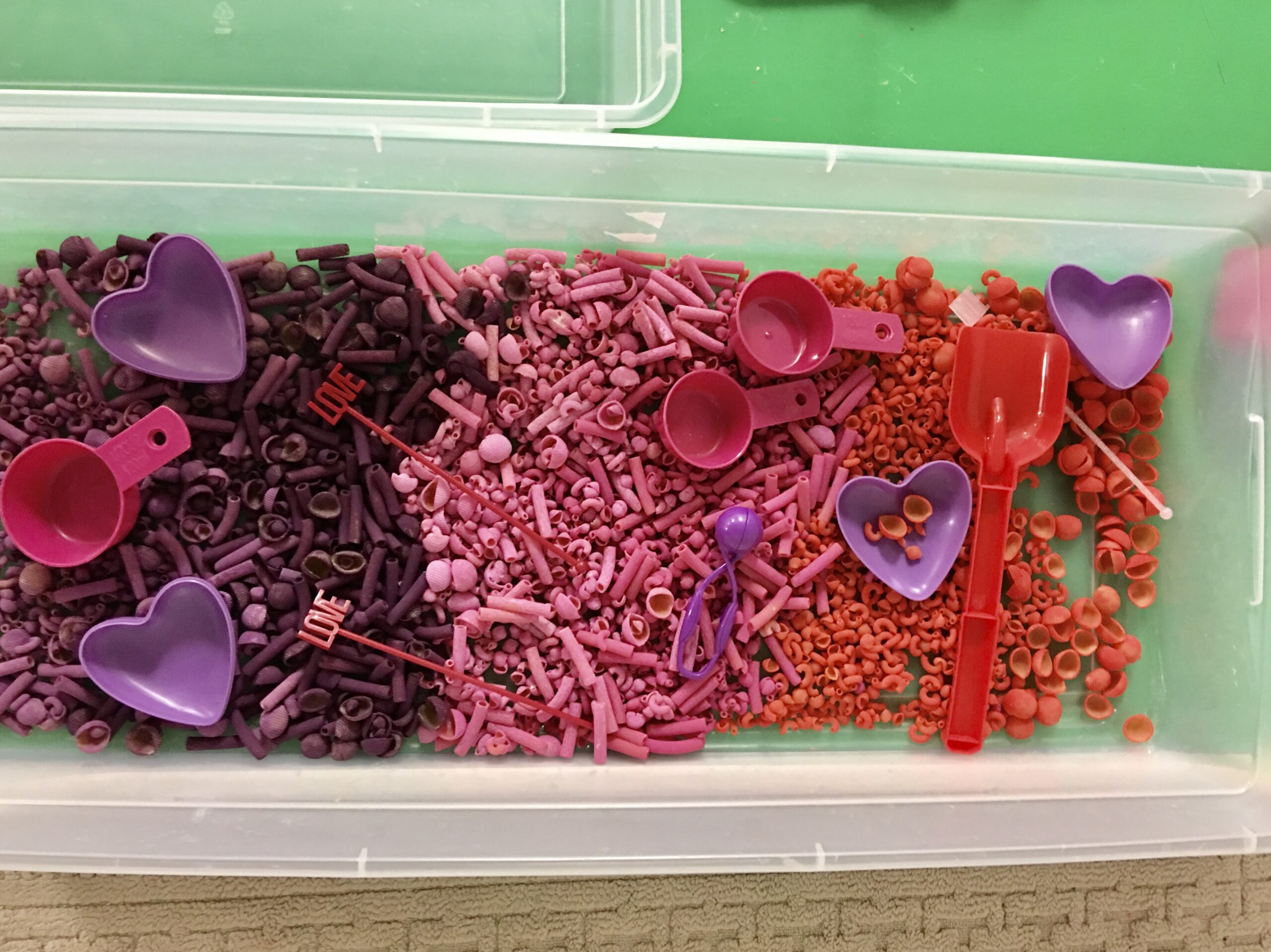 Come create a valentine's day themed sensory bin for your children.  Sensory bins allow children to safely explore the world around them and experience different textures.  Great for home or the classroom.