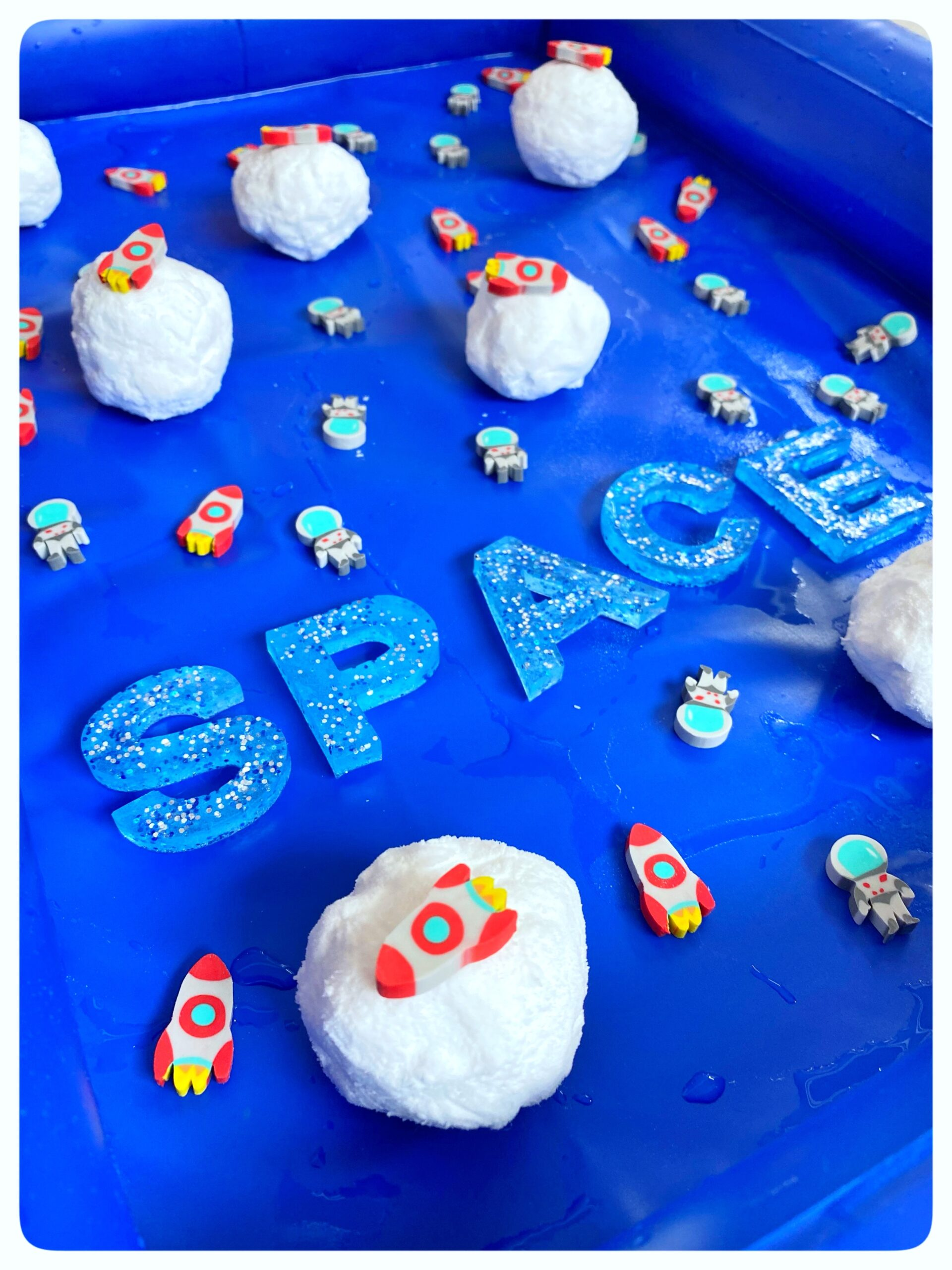 """Outer Space Sensory Play. """"come look what I just exploded!"""" Learn the science behind the play"""