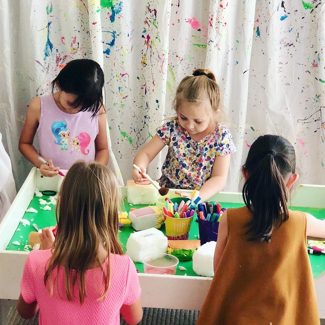 DIY S Q U I S H I E S. 🍩🍿🦄 These toys are such a huge hit right now so we opened up our art studio to a fun group of 13 kids for them to create their own!